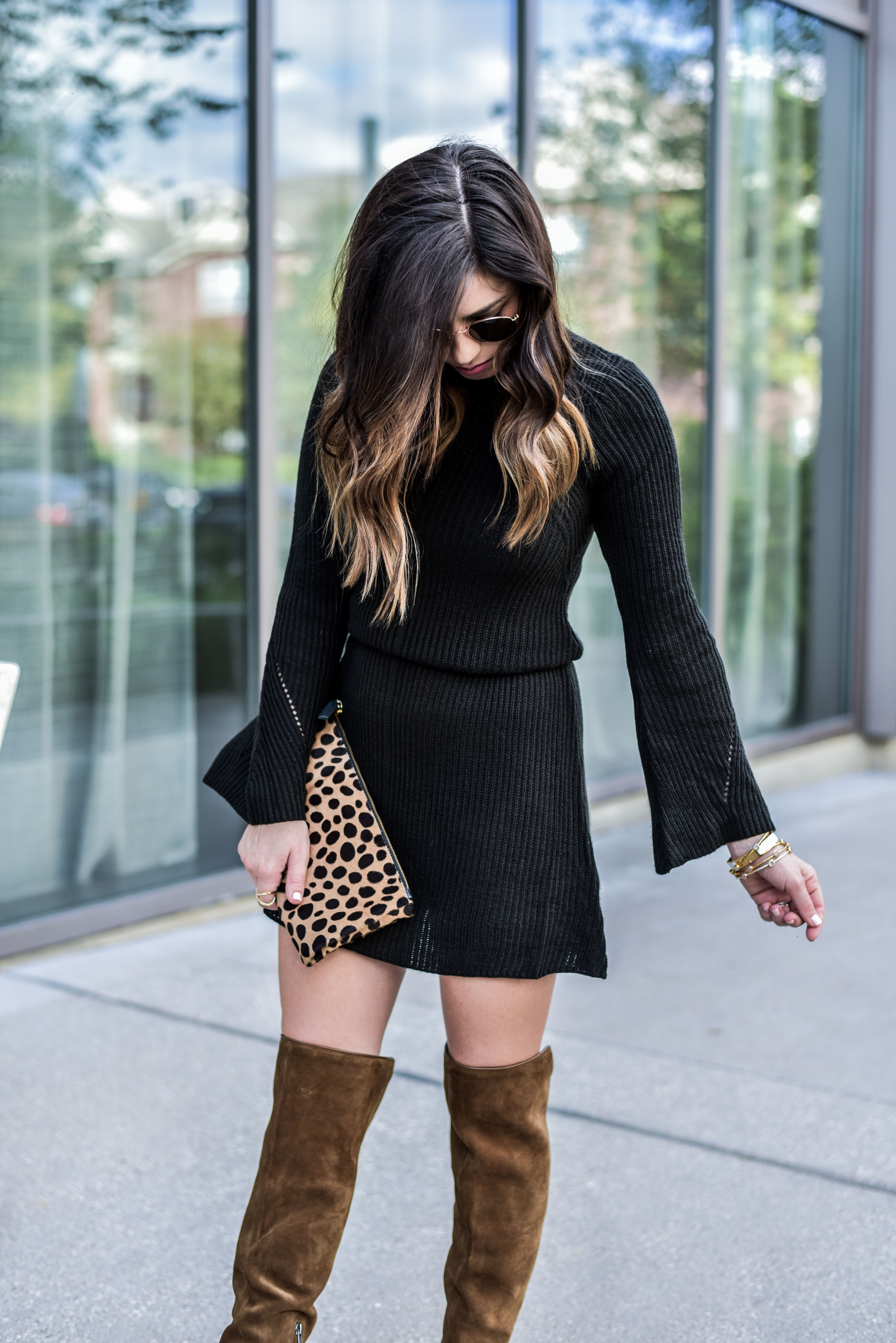 black sweater dress from nordstrom