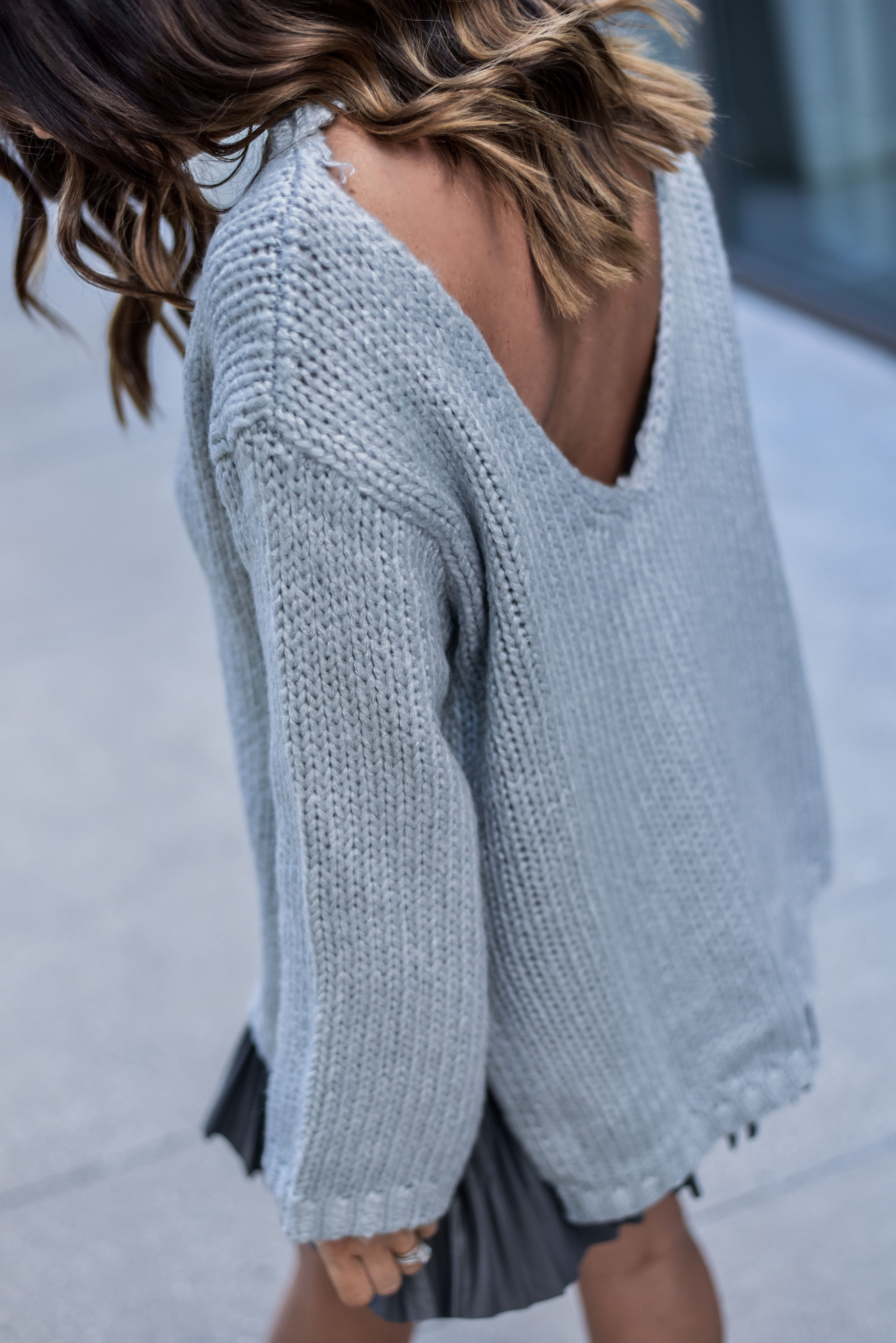 cutout back sweater in grey http://www.flauntandcenter.com