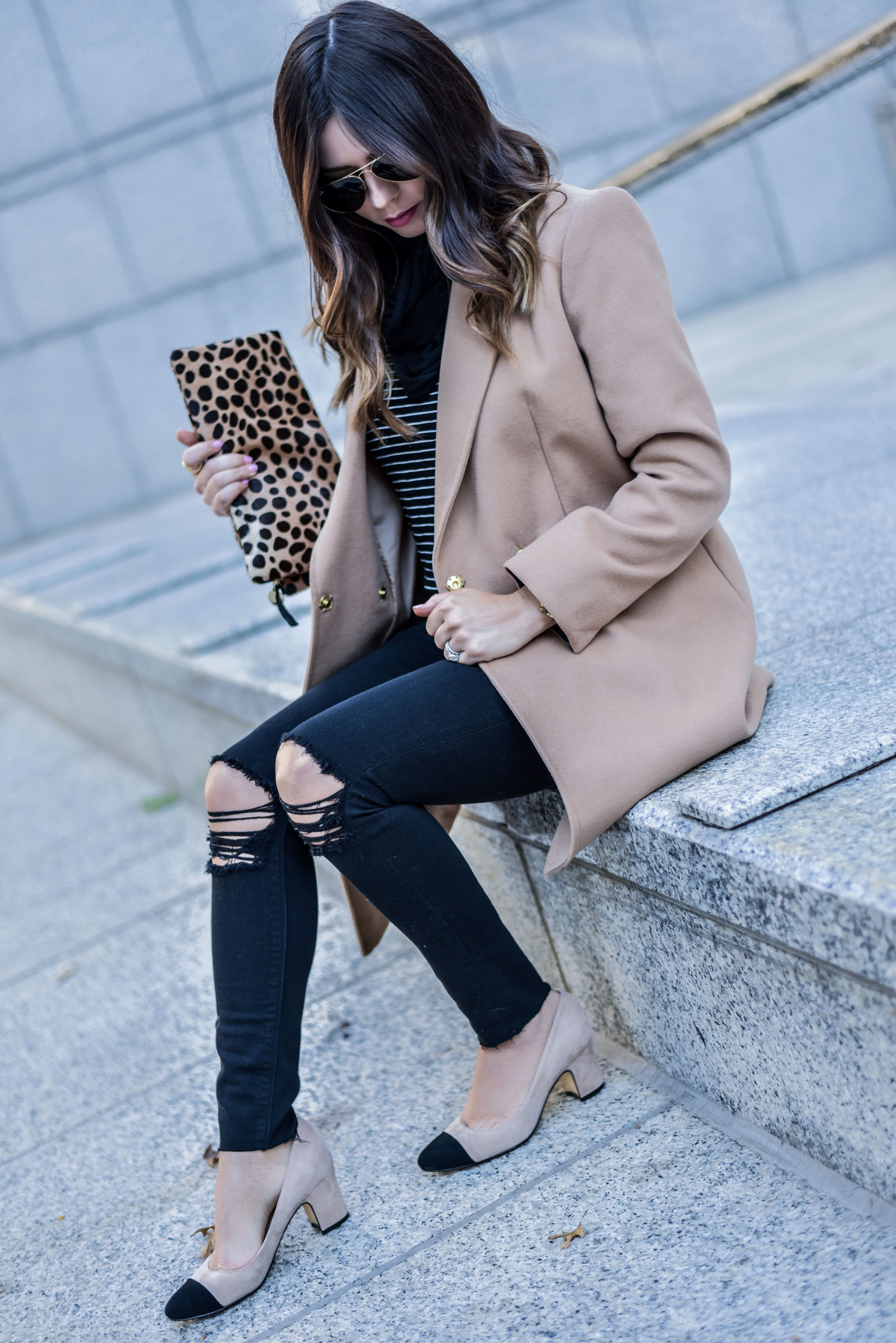 camel coat with stripes
