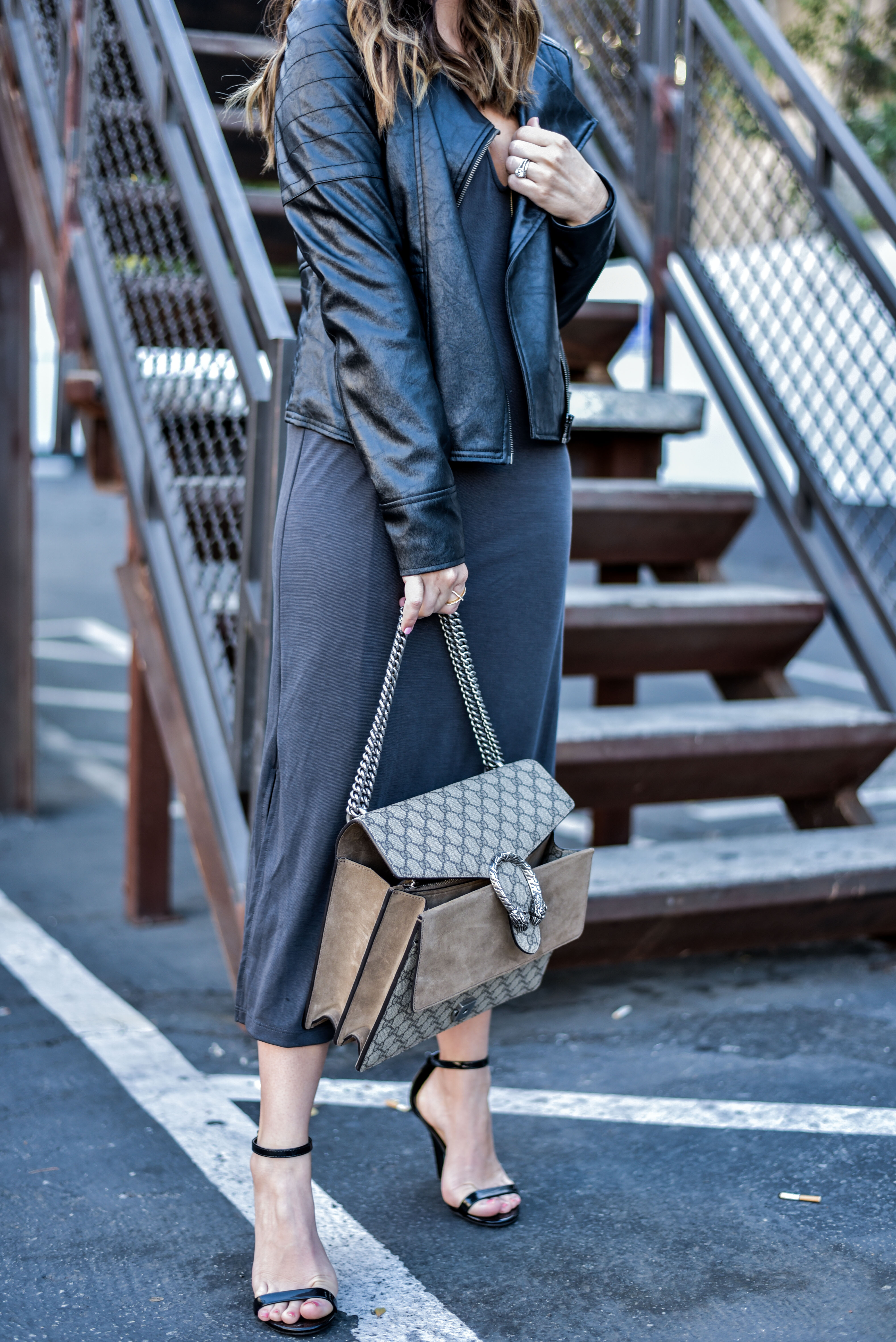 grey midi dress with heels