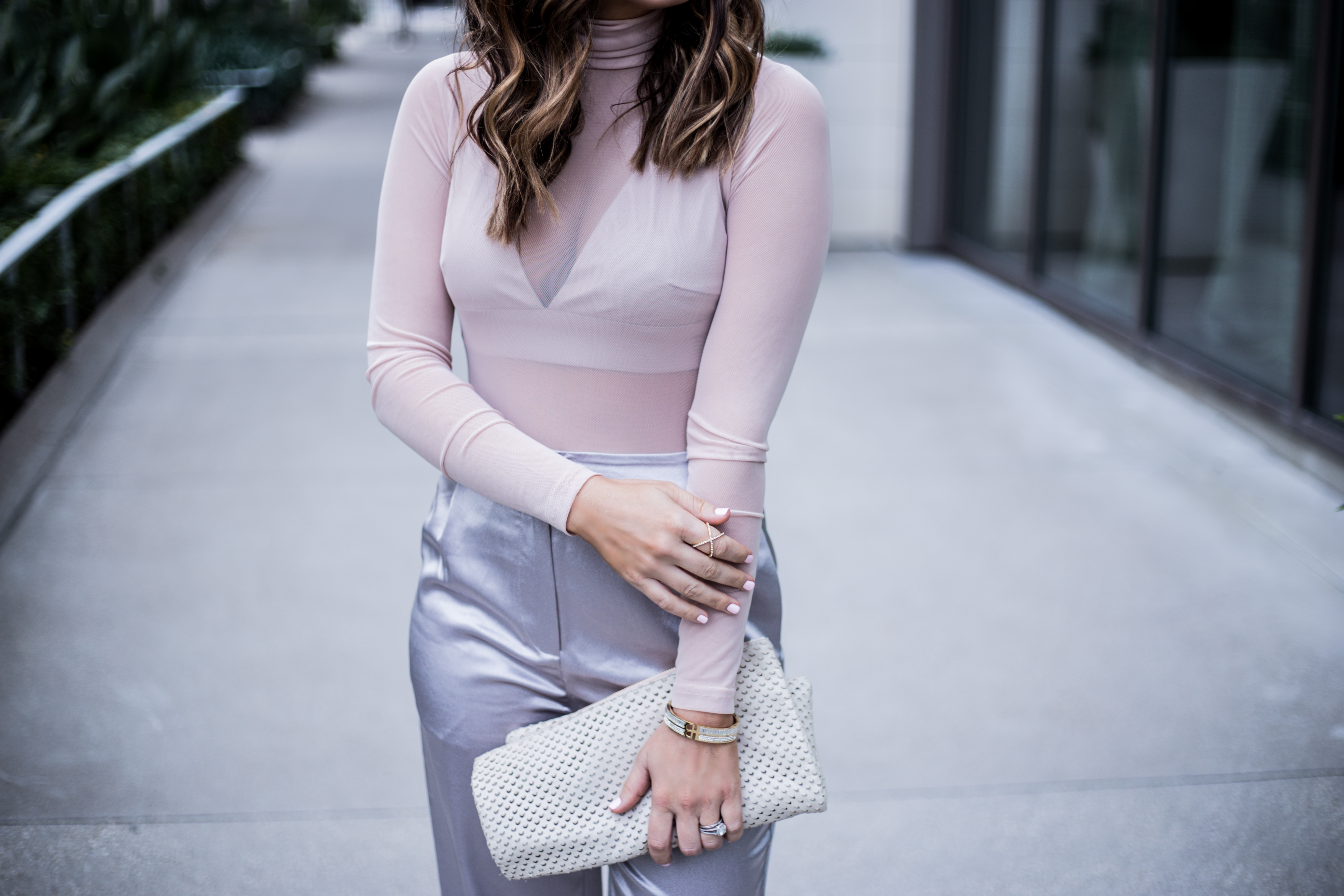 Forever 21 satin pants with a sheer bodysuit |