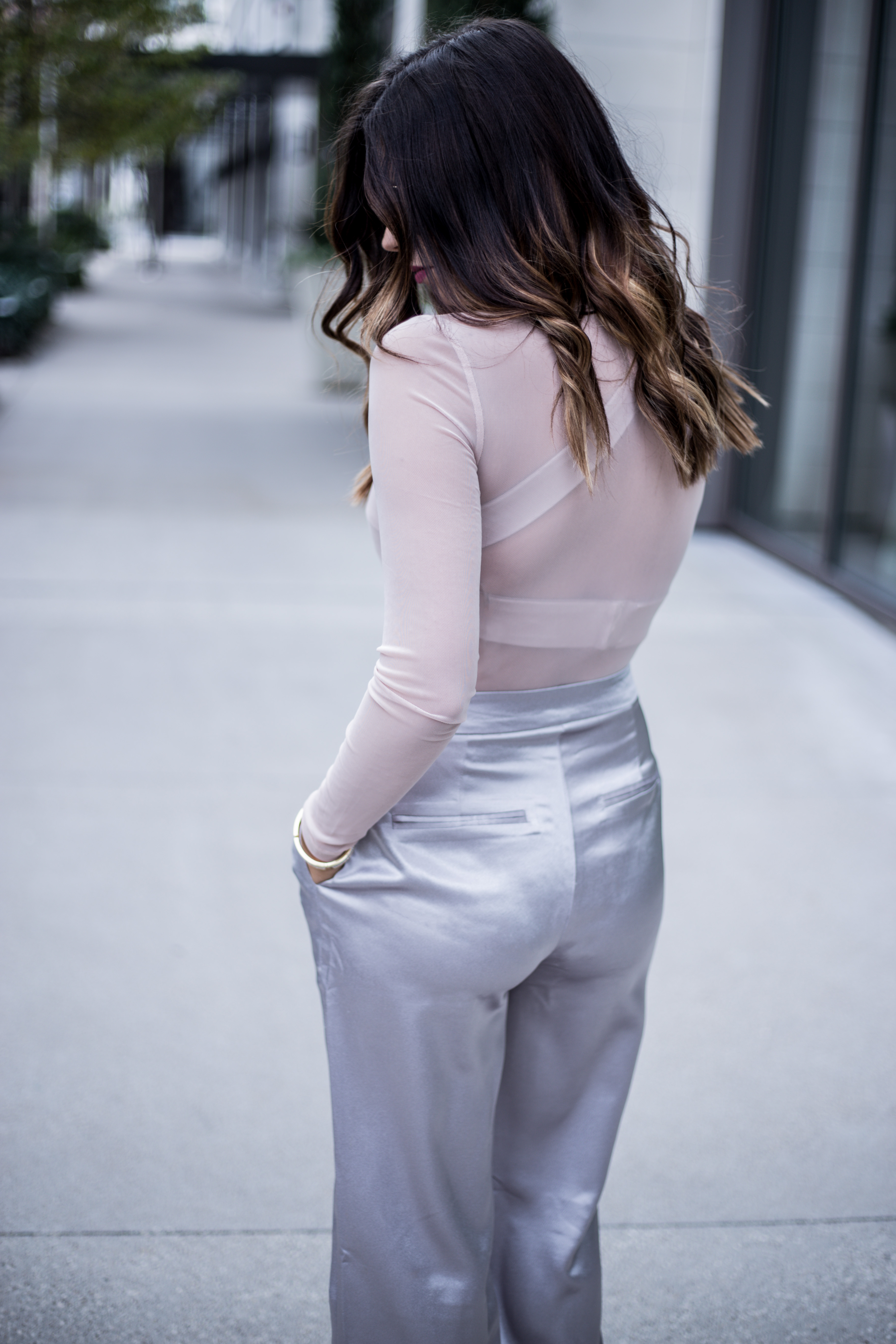 Holiday chic satin pants with a sheer top |