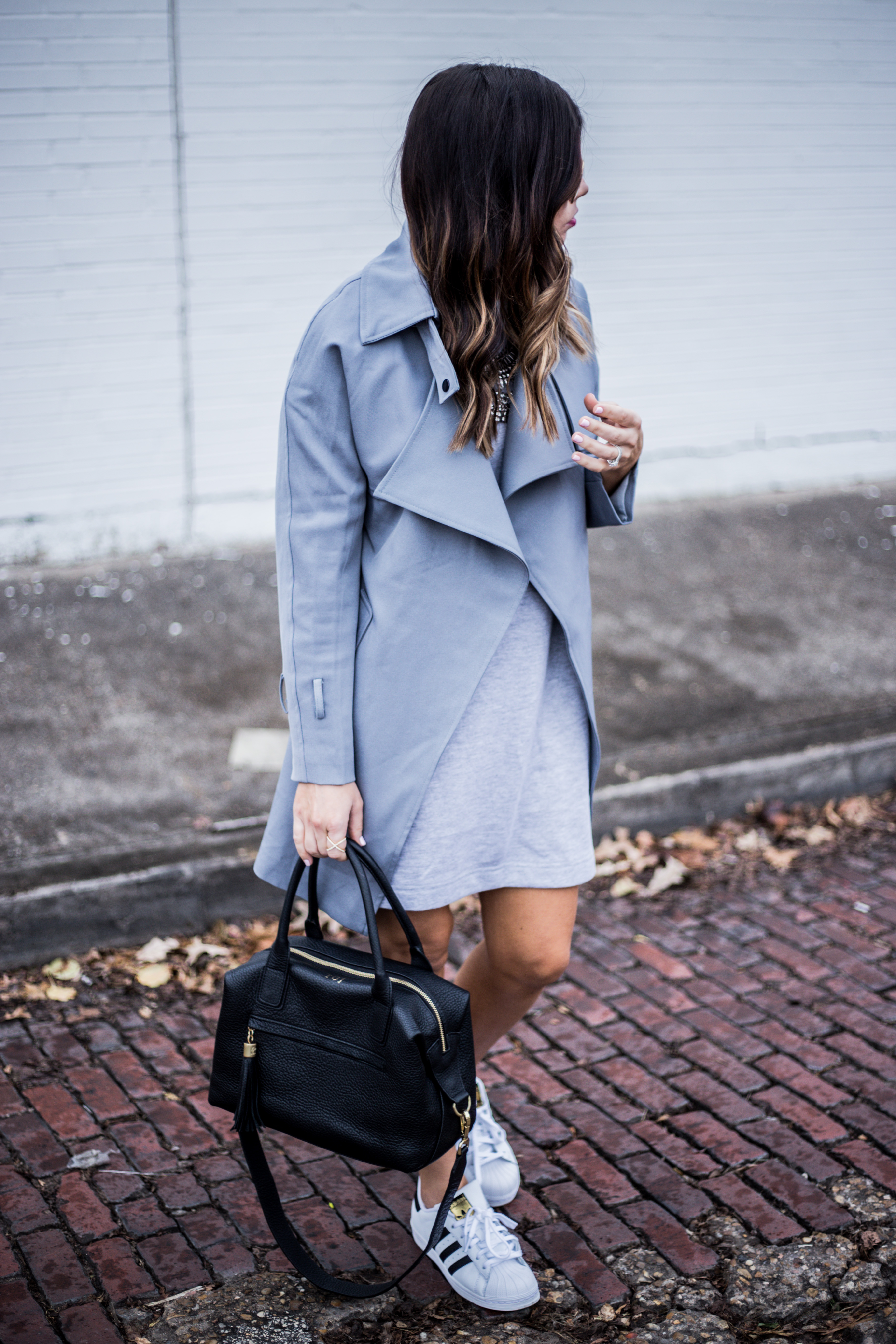 Loving this grey trench coat from chicwish with sneakers | what's trending in fashion 2016