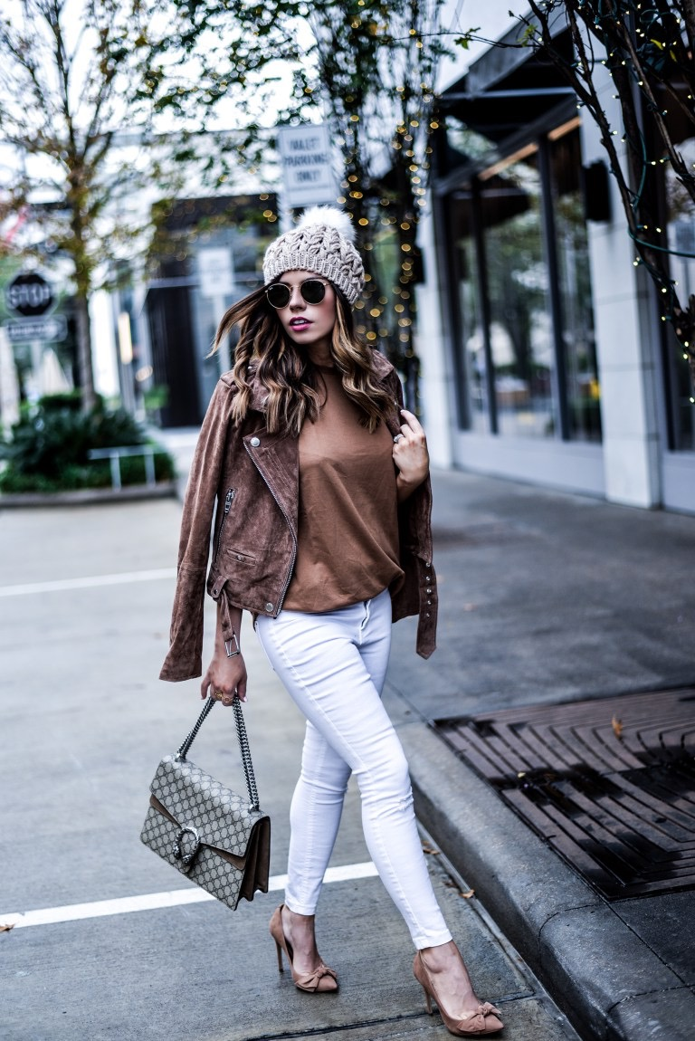 Houston fashion blogger of Flaunt and Center Tiffany Jais wearing a blank NYC moto jacket and the Steve Madden Token heels