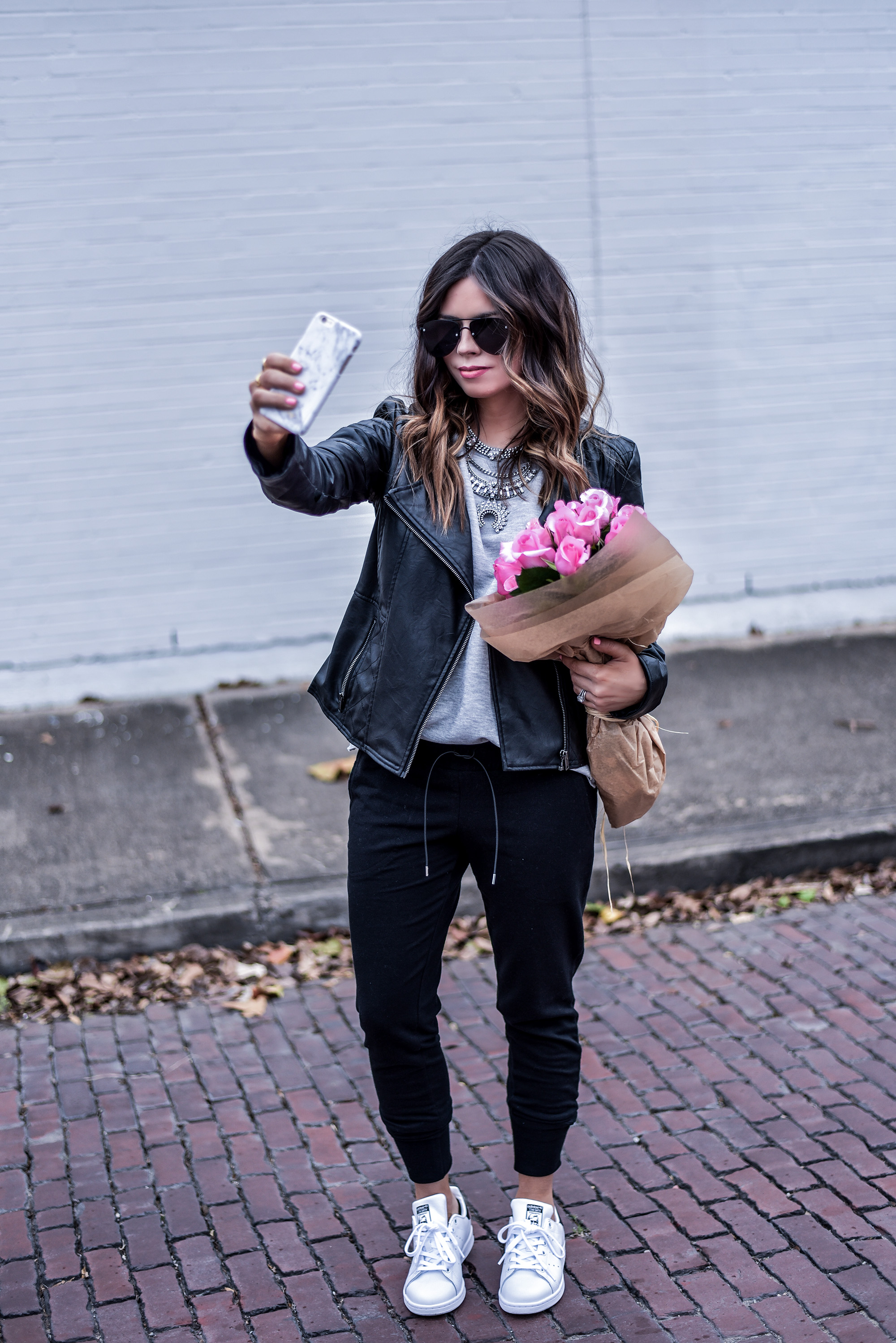 Houston blogger and writer of the style blog Flaunt and Center wearing Free People joggers and Stan Smith sneakers | Women's fashion