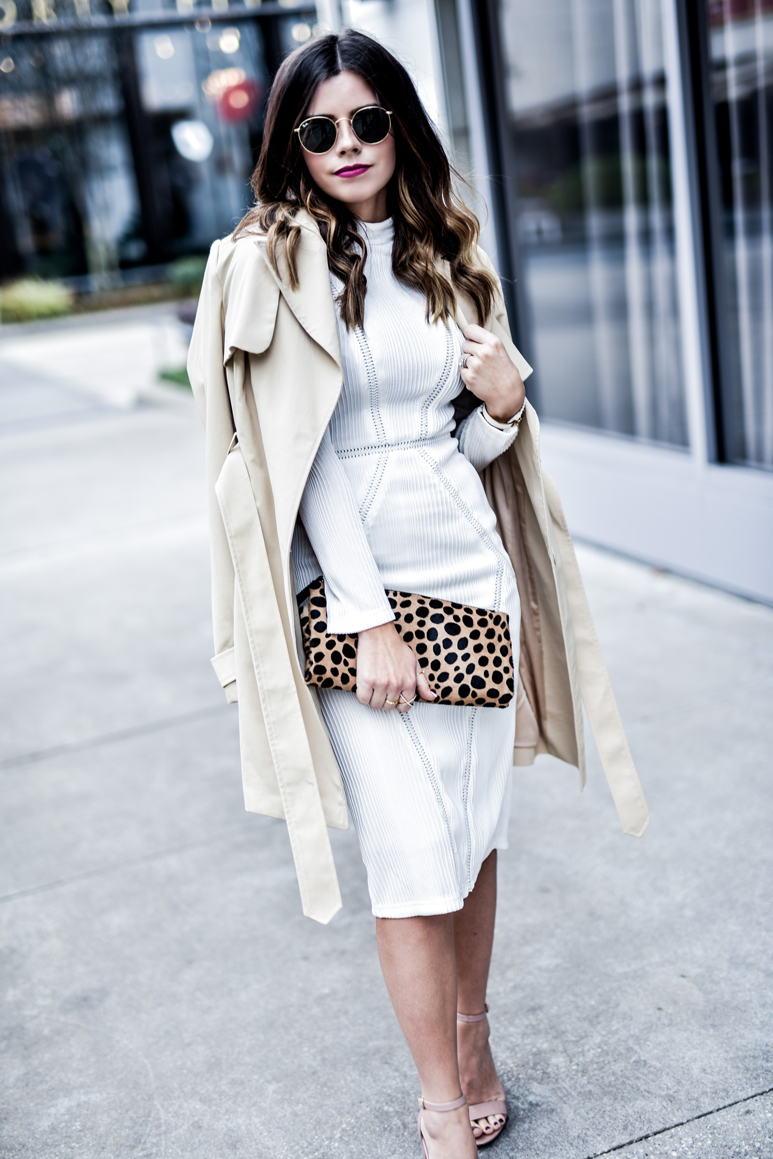 Tiffany Jais Houston fashion and lifestyle blogger of Flaunt and Center wearing a white dress by NA-KD fashion and a leopard clutch, click to read more | Women's fashion trend