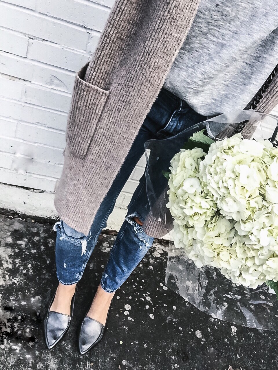 Houston fashion and style blogger Tiffany Jais wearing distressed skinny jeans from Shopbop and a Maxwell cardigan | Women's fashion