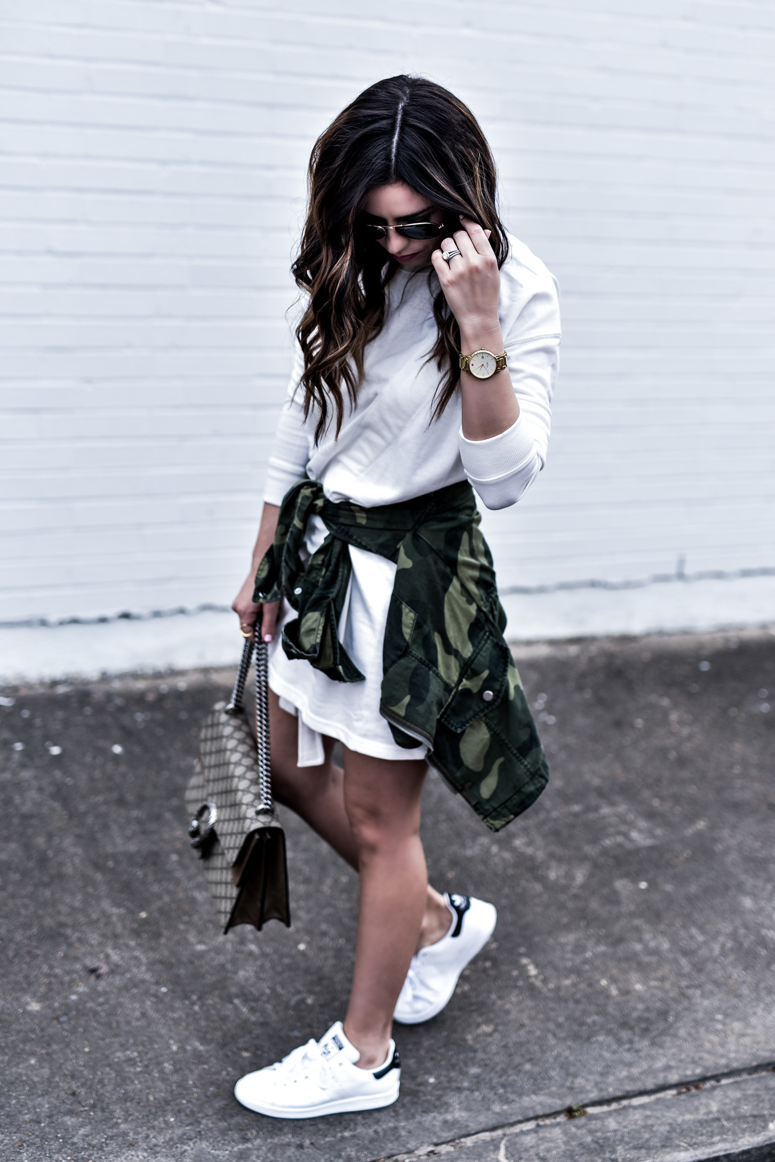 Houston fashion and lifestyle blogger Tiffany Jais wearing a t-shirt dress from ASOS and white Stan Smith sneakers   What's trending in women's fashion