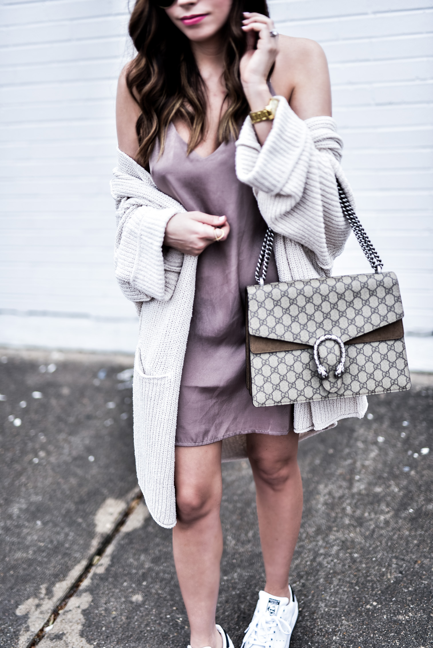 Tiffany Jais Houston fashion and lifestyle blogger wearing a satin slip dress from Nordstrom and a free people cardigan, click to read more | Women's fashion 2017, spring outfit ideas, Gucci Dionysus bag