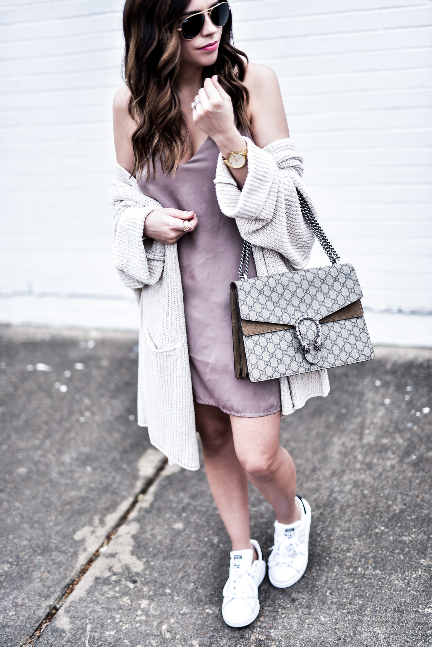 Tiffany Jais Houston fashion and lifestyle blogger wearing a satin slip dress from Nordstrom and a free people cardigan, click to read more   Women's fashion 2017, spring outfit ideas, Gucci Dionysus bag