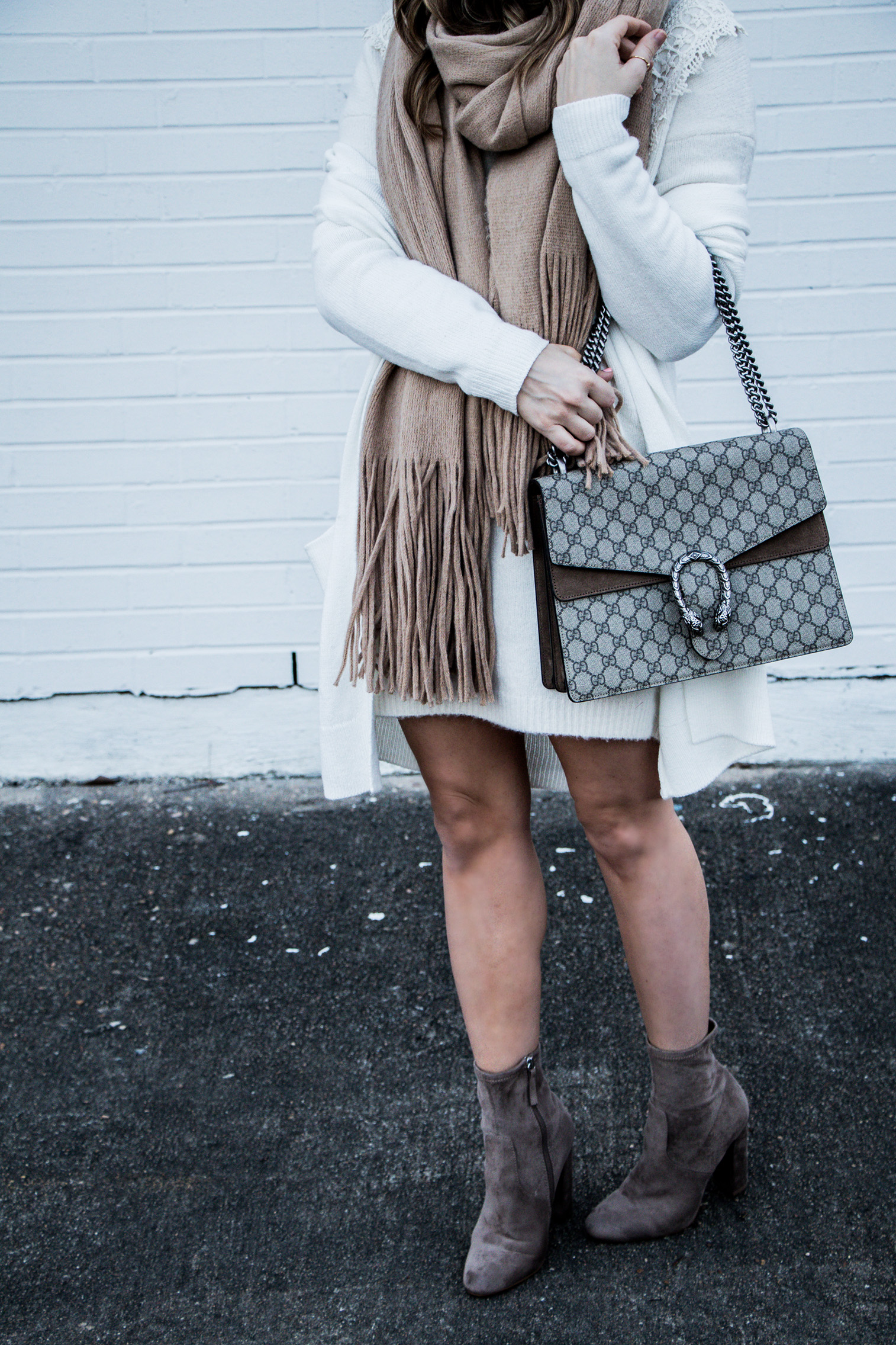 Houston fashion and lifestyle blogger wearing Steve Madden ankle boots and an ASOS sweater dress | Cozy layers