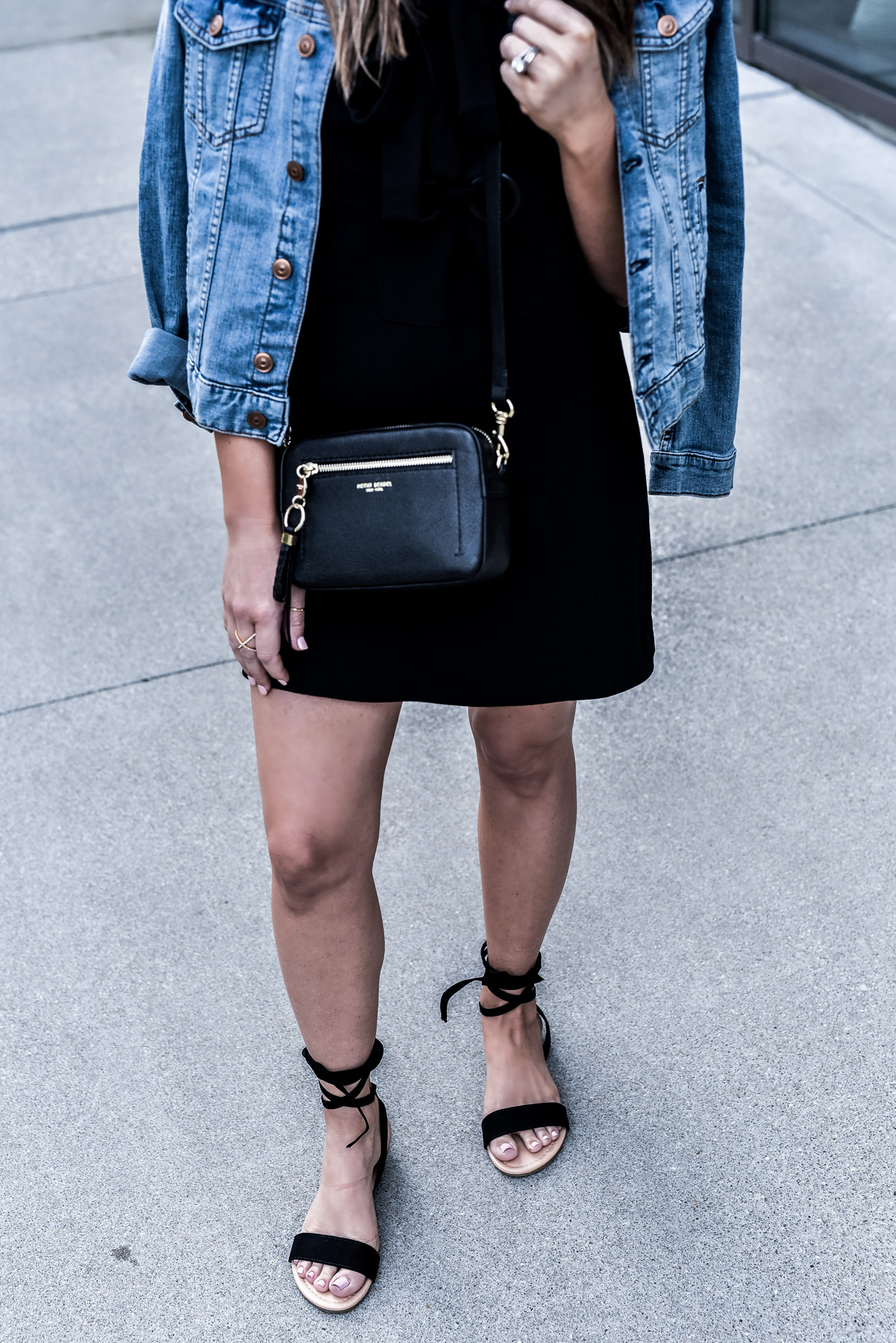 Love this black lace up front dress by English Factory! | Fashion blogger, Henri Bendel bag, lace up sandals, women's outfit ideas, outfit ideas for school