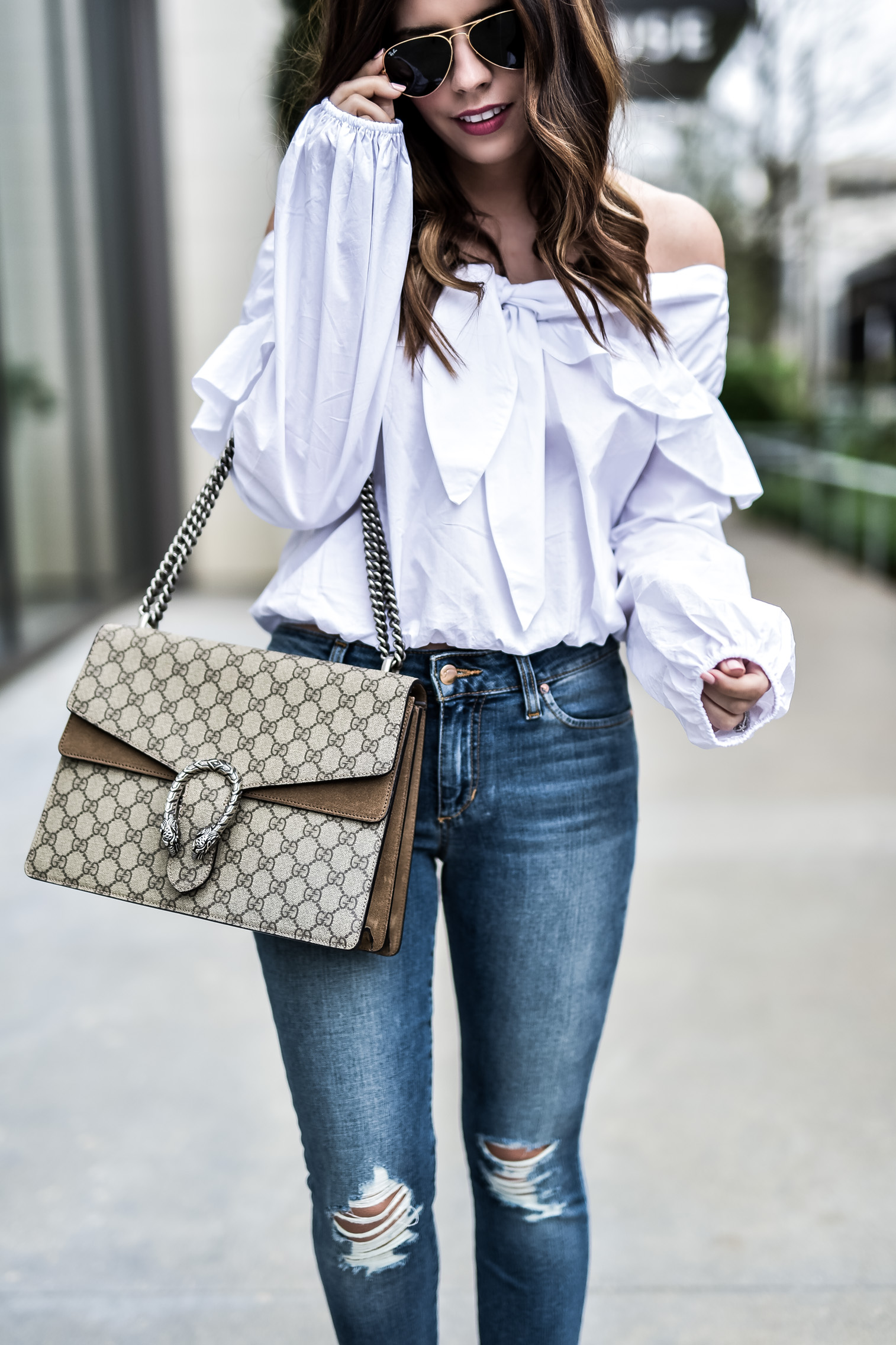 Houston fashion blogger wearing a white off the shoulder top by Revolve and Joe's ankle skinny jeans, click to shop everything I'm wearing! Marc fisher slides, outfit ideas, fashion blogger, outfit ideas for school, gucci dionysus bag