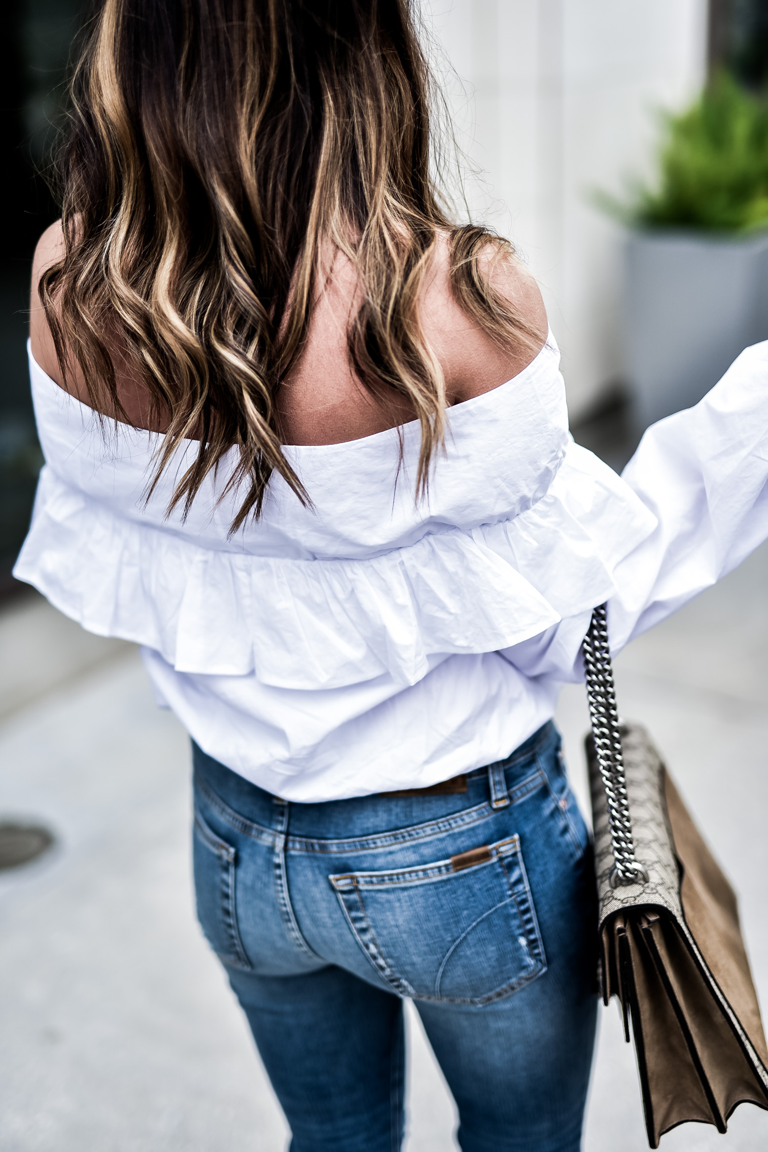 Houston fashion blogger wearing a white off the shoulder top by Revolve and Joe's ankle skinny jeans, click to shop everything I'm wearing! Marc fisher slides, outfit ideas, brunette ombre hair style, fashion blogger, outfit ideas for school, gucci dionysus bag