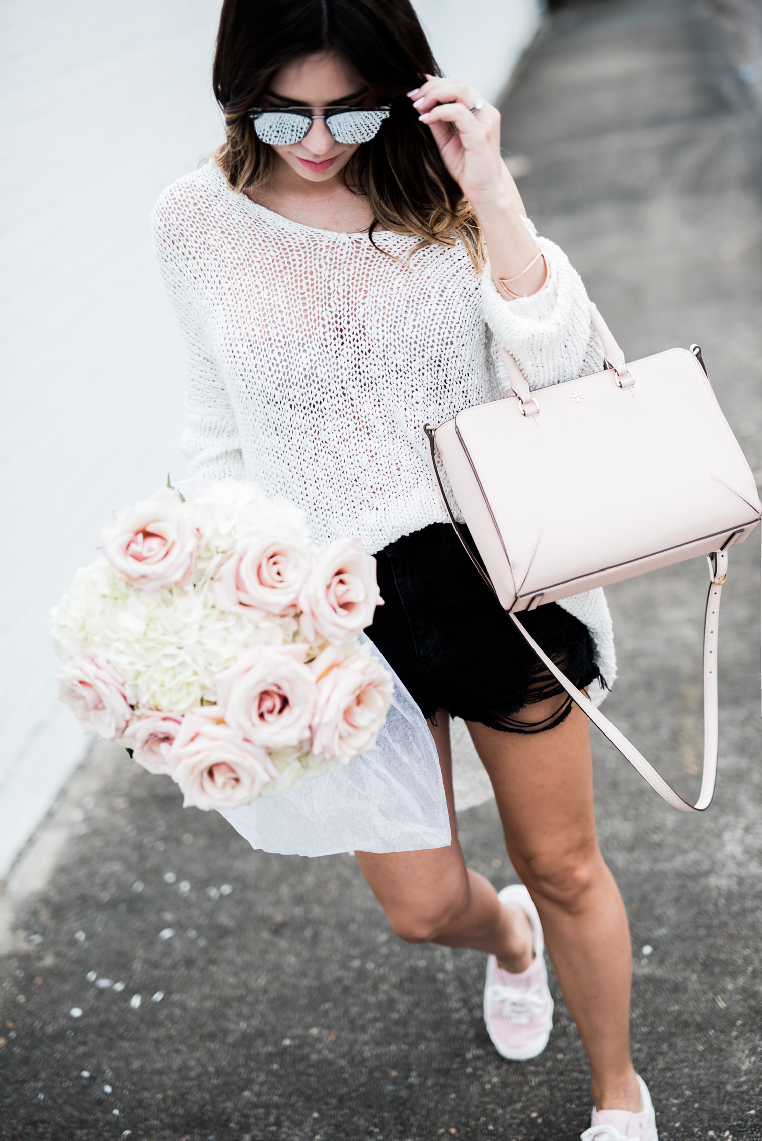 Tiffany Jais Houston fashion and lifestyle blogger | light weight sweater, tretorn sneakers in blush, casual spring outfits