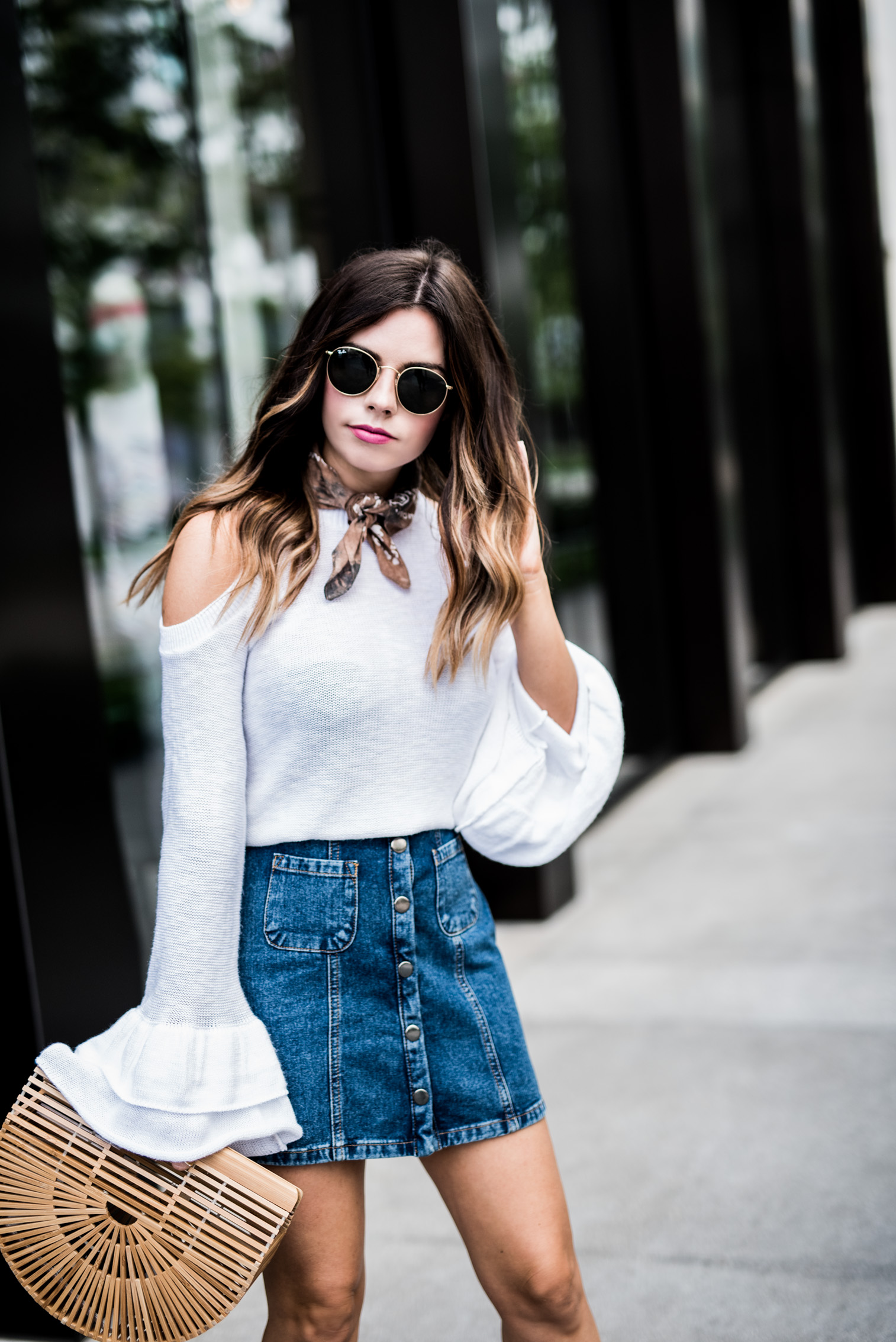 Tiffany Jais Houston fashion and lifestyle blogger | 3 reasons to love denim skirts again, casual fashion, spring outfit ideas, cult gaia bag, button denim mini skirt, brown lace up heels