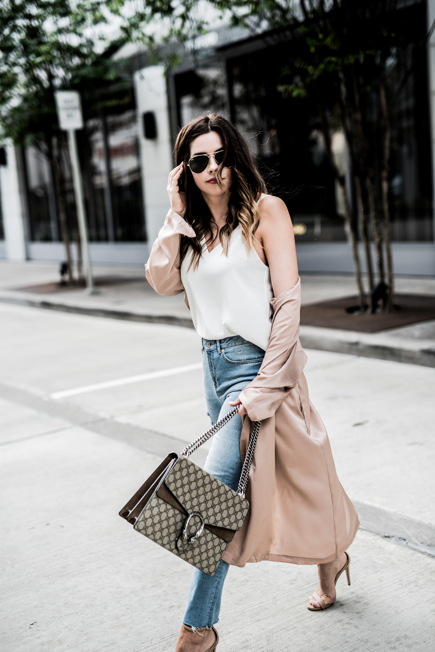 Houston fashion and lifestyle blogger Tiffany Jais | How to layer in the spring time, spring outfit ideas, gucci dionysus bag, straight leg denim jeans, satin duster jacket