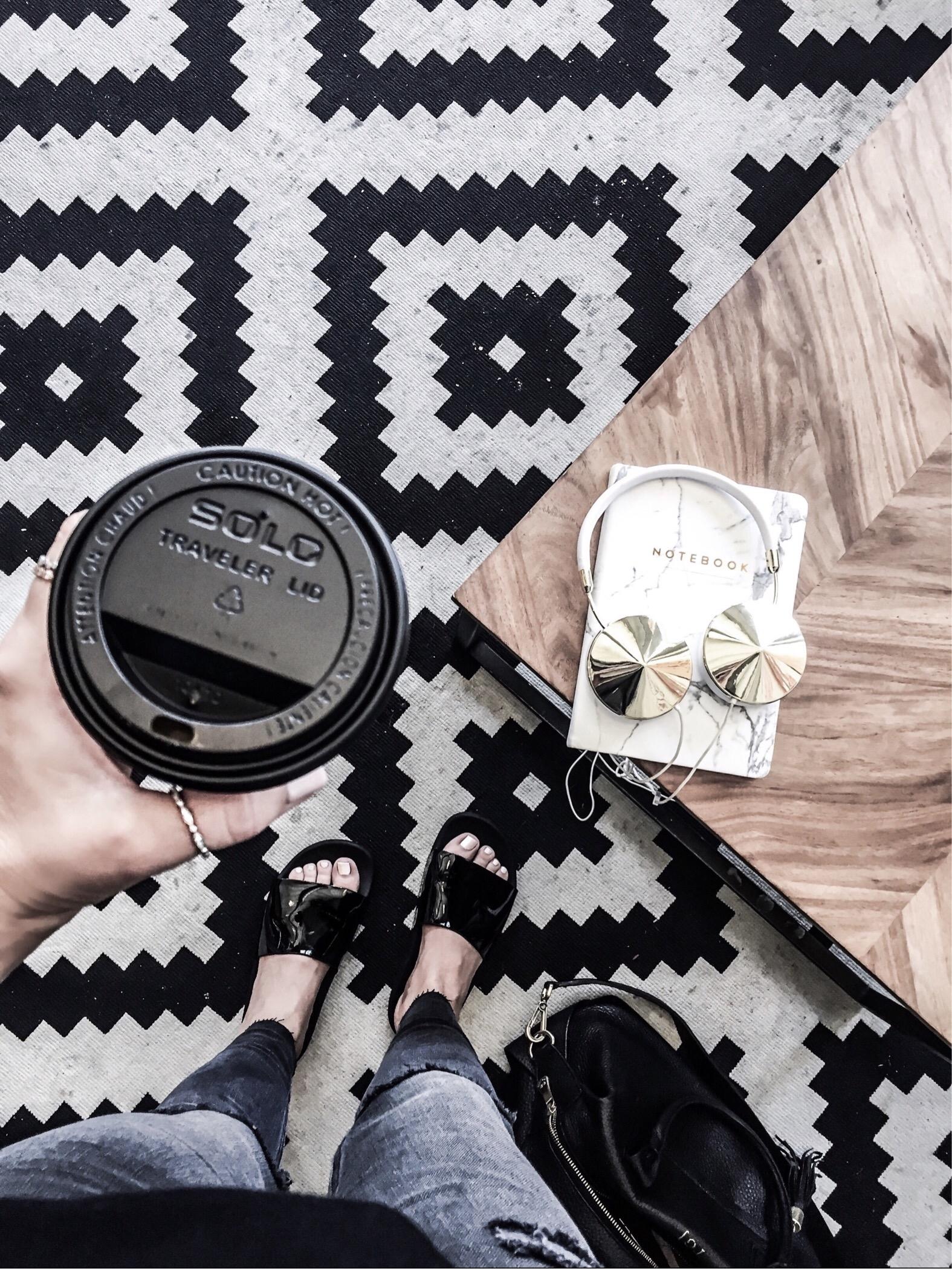 Houston fashion and lifestyle blogger Tiffany Jais | Black slides, flatlay, fashion flatlays, frends headphones | coffee shop vibes