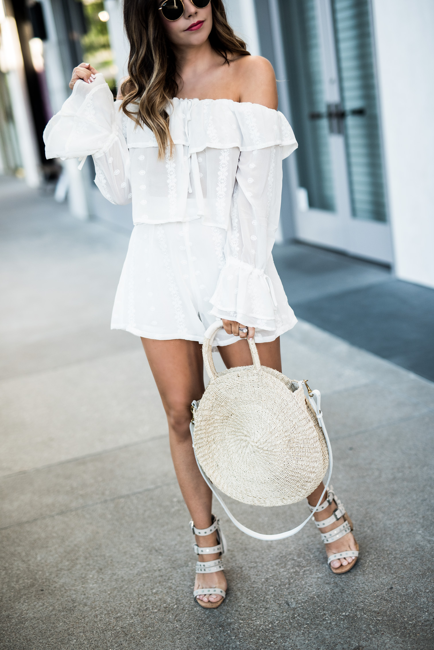 Tiffany Jais Houston fashion and lifestyle blogger | 8 matching sets for summer | clare V alice tote, ruffle off the shoulder matching set, Dolce Vita effie heels