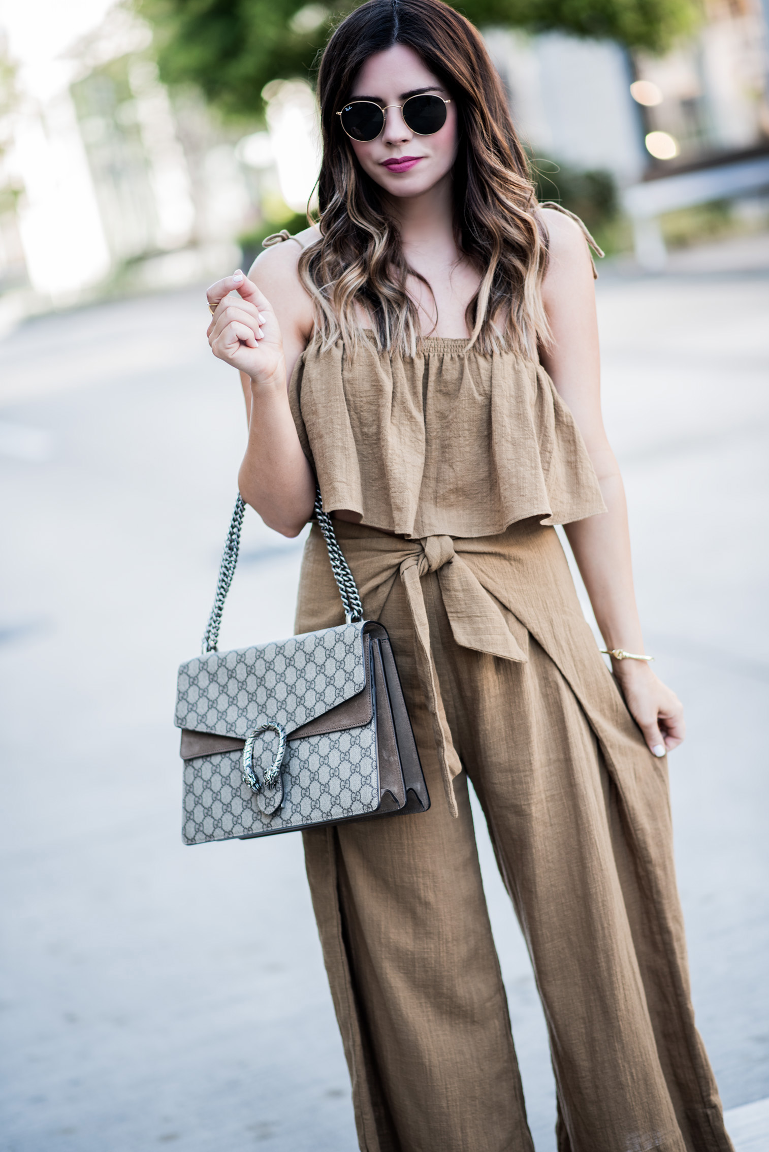 Tiffany Jais Houston fashion and lifestyle blogger | Gucci Dionysus bag, street style fashion, stewy heels, round 50mm ray bans, tropic babe set by Free People