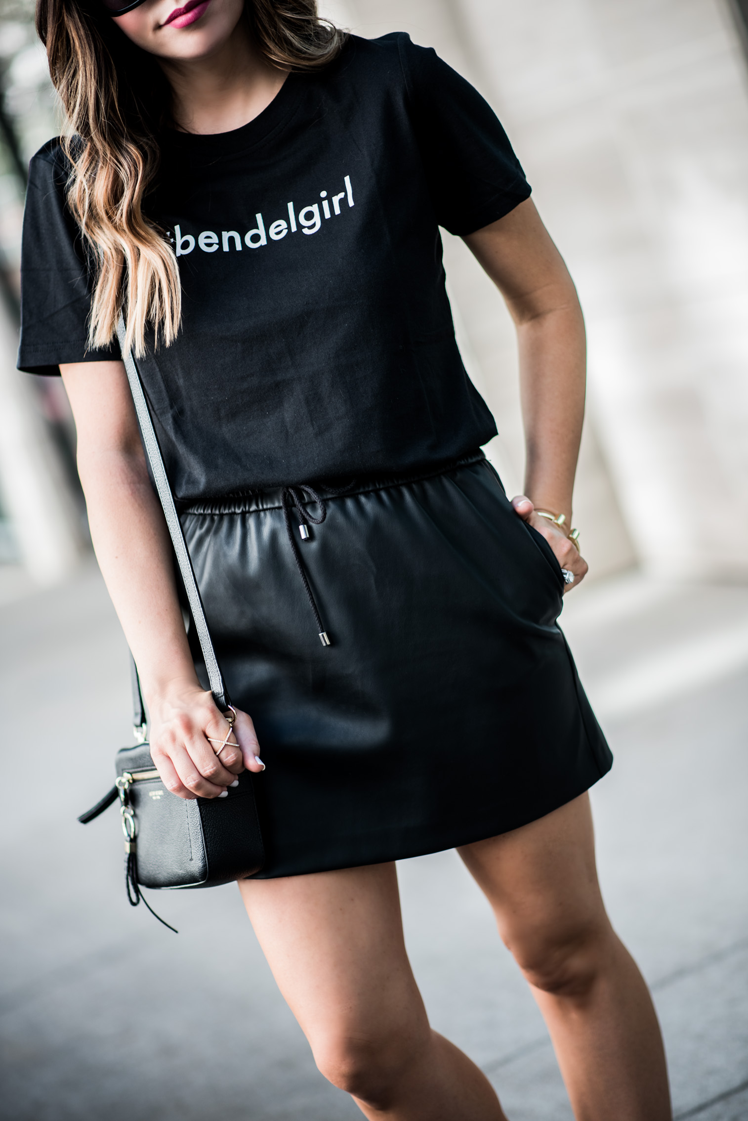 Tiffany Jais Houston fashion and lifestyle blogger | Friday feels + weekend sales | Bendelgirl tee, leather skirt, sneaker outfit ideas