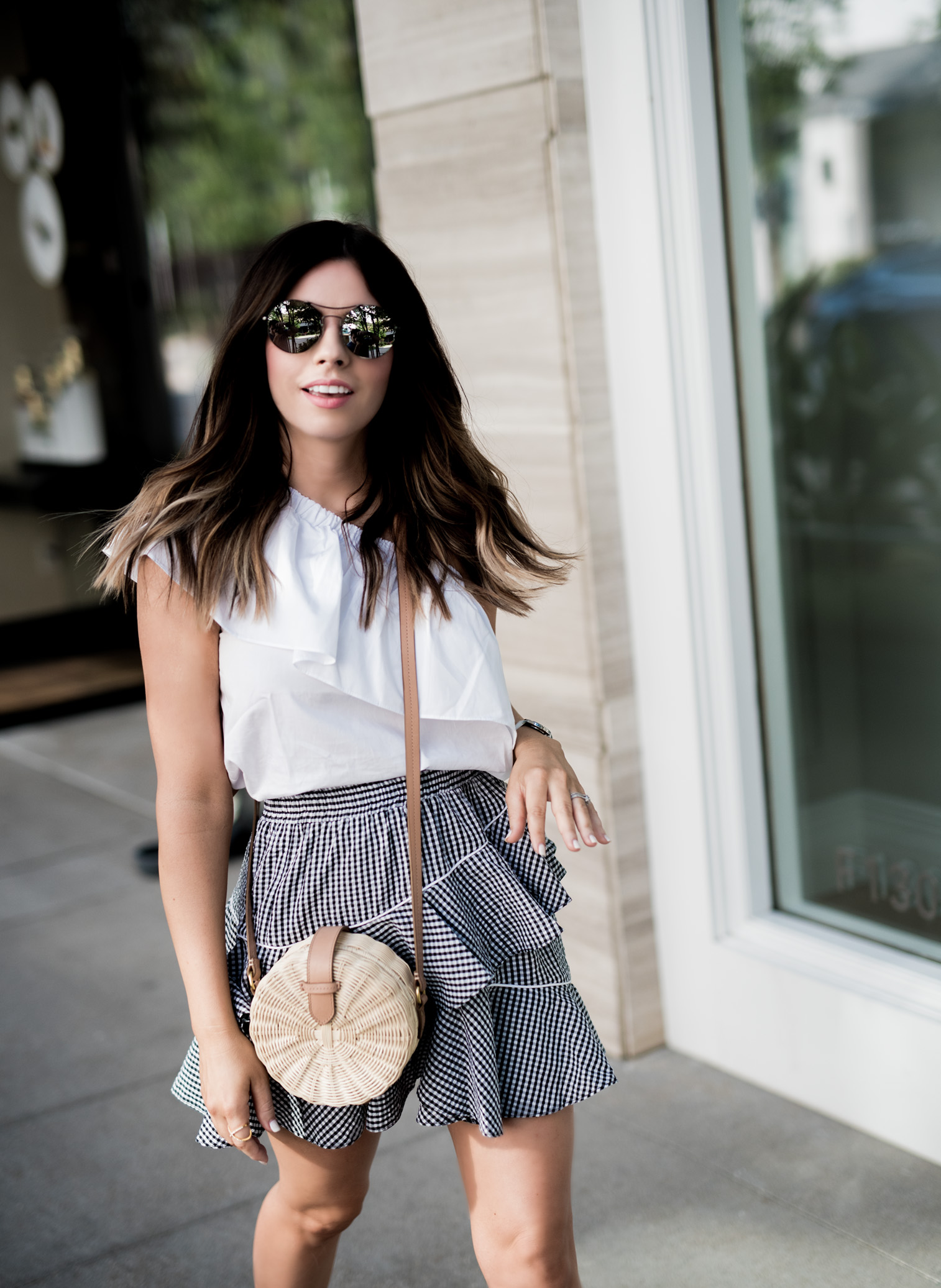 Tiffany Jais Houston fashion and lifestyle blogger   Gingham skirt, off the shoulder top, round rattan bag, street style outfits