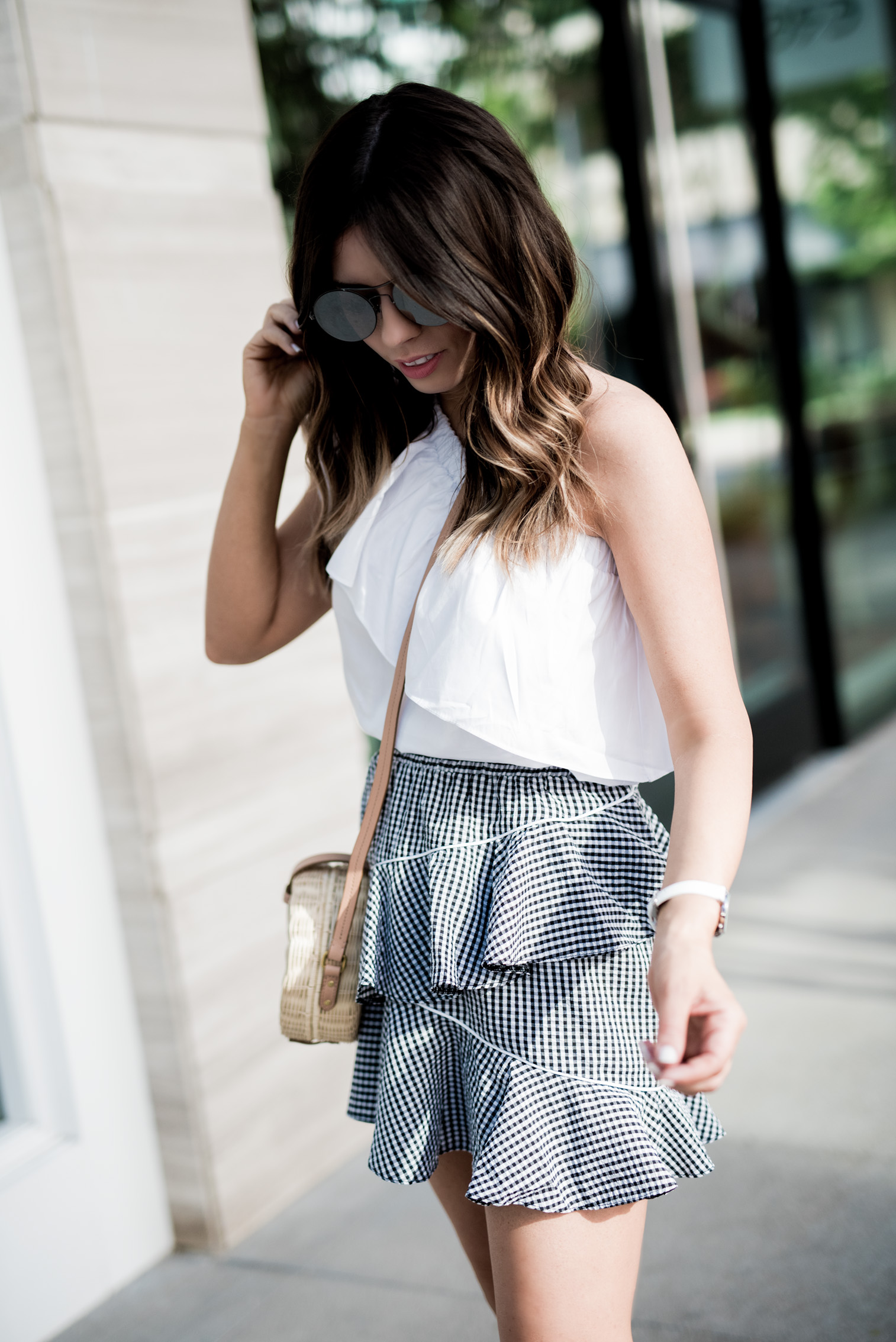Tiffany Jais Houston fashion and lifestyle blogger | Gingham skirt, off the shoulder top, round rattan bag, street style outfits