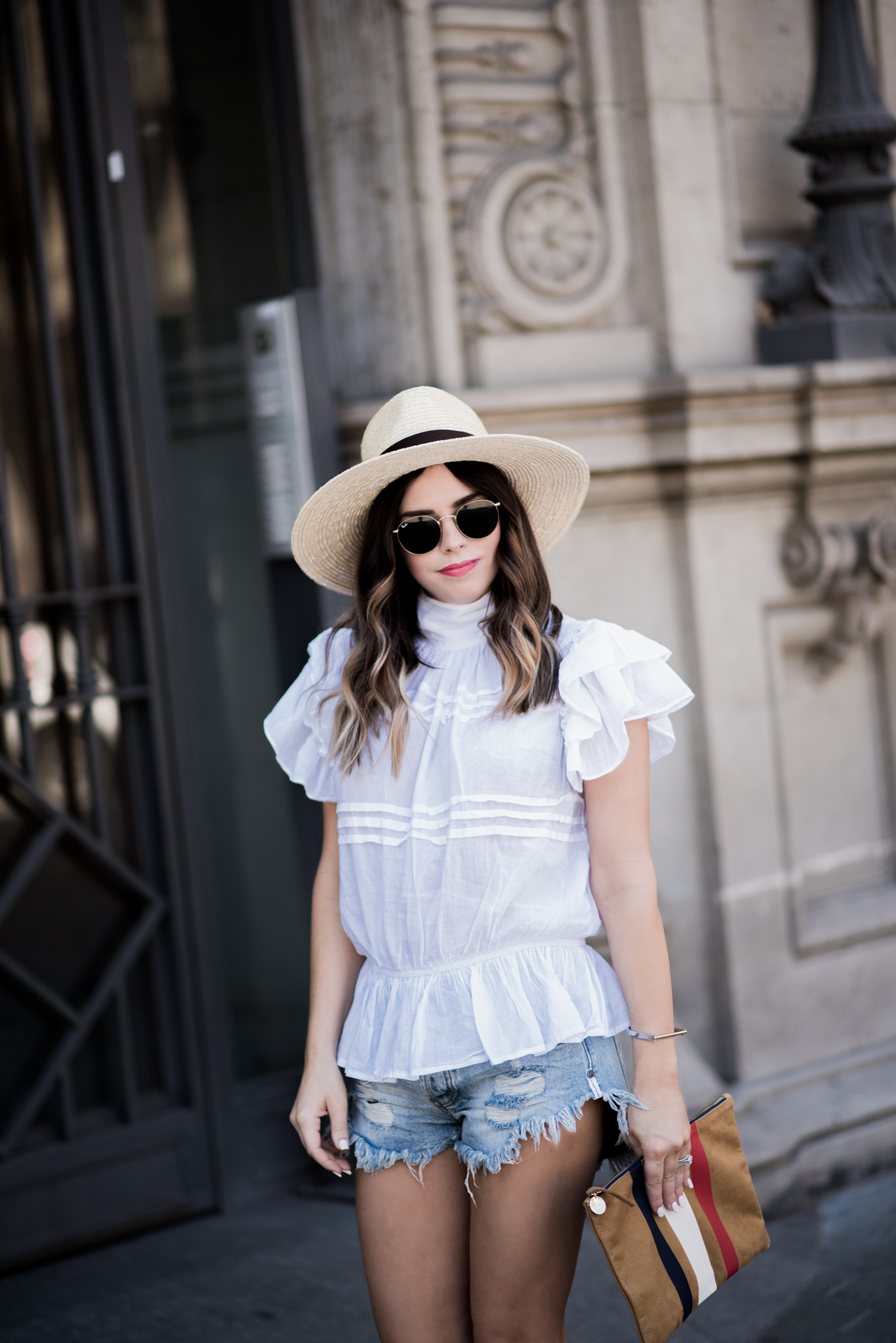 Tiffany Jais Houston fashion and lifestyle blogger | Happy 4th-The Barcelona Edition | White ruffle blouse, Brixton Willow Hat, Clare V Clutch, One Teaspoon Brandos Shorts, casual outfits, What to wear on the 4th of July,