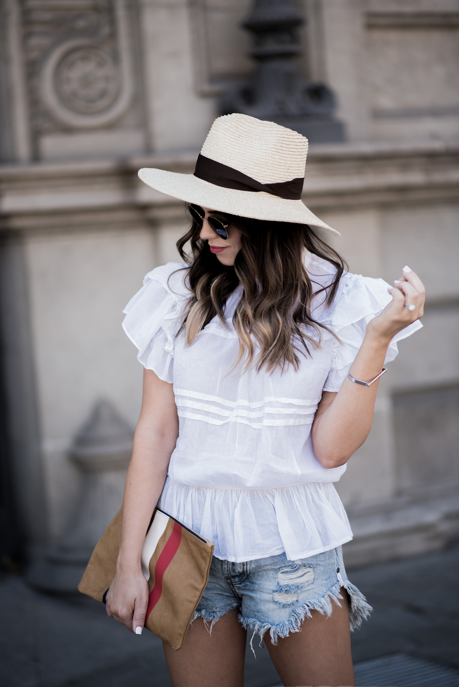 Tiffany Jais Houston fashion and lifestyle blogger | Happy 4th-The Barcelona Edition | White ruffle blouse, Brixton Willow Hat, Clare V Clutch, One Teaspoon Brandos Shorts, casual outfits, What to wear on the 4th of July, 4th of July outfit ideas