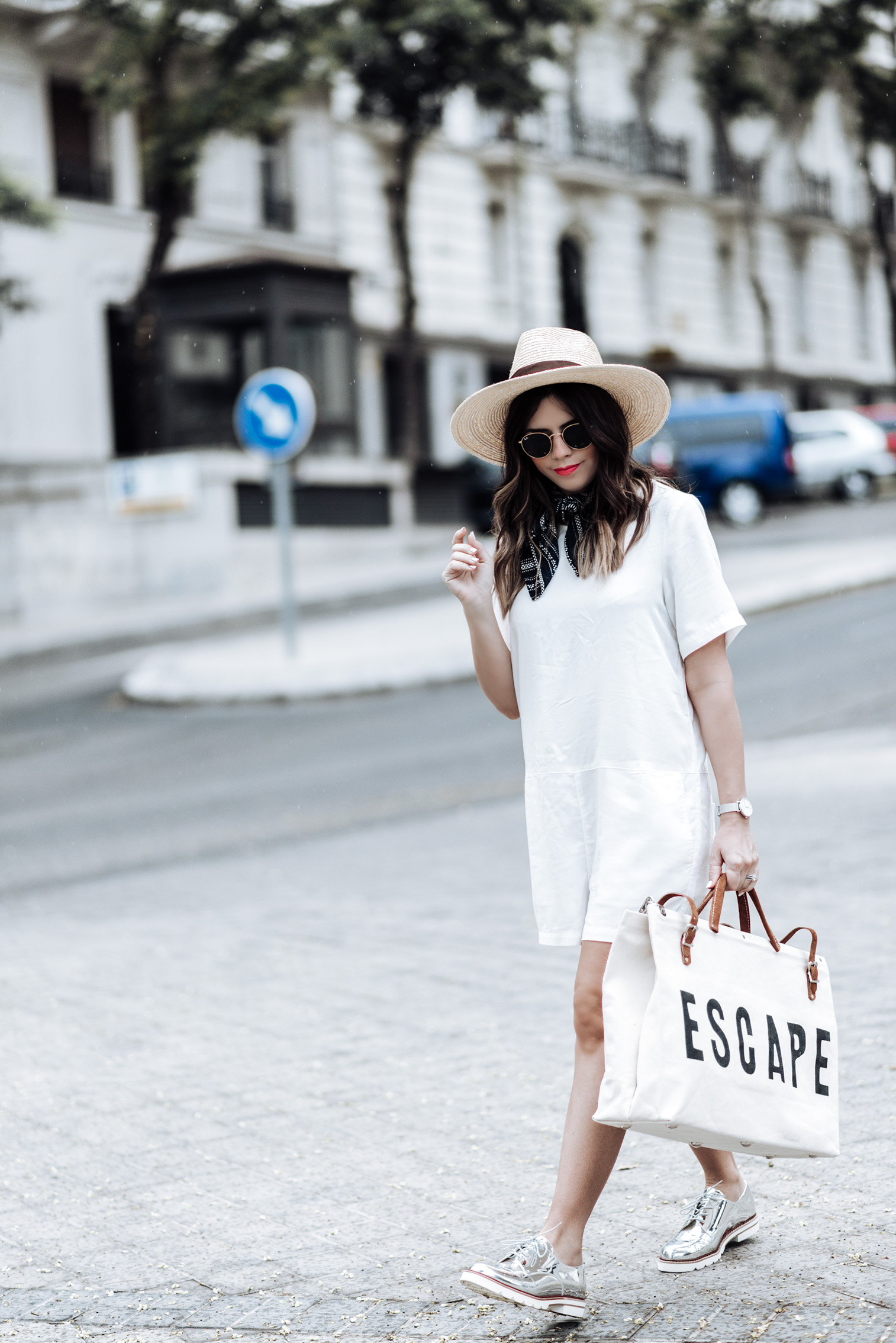 Tiffany Jais Houston fashion and lifestyle blogger | The perfect travel bag, travel bag for women, travel outfit women, brixton willow hat, Forestbound ESCAPE bag, silver oxfords,