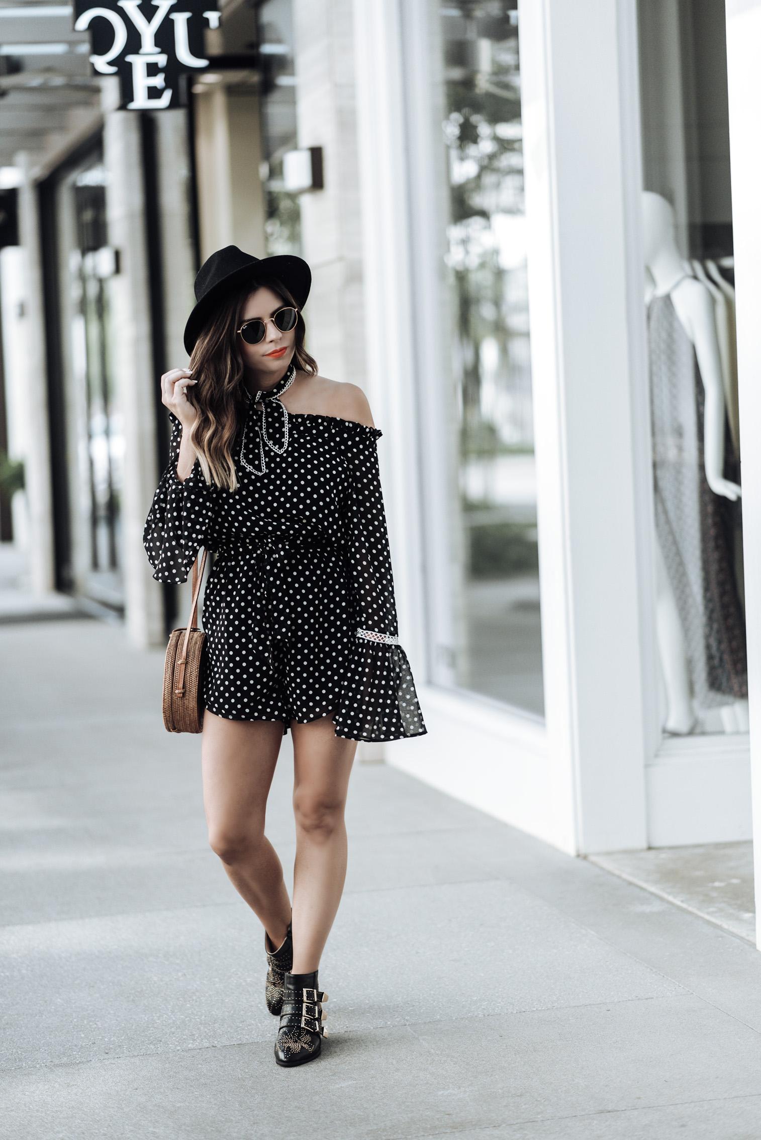 Tiffany Jais Houston fashion and lifestyle blogger | polka dot romper | round rattan bag, chloe studded boots, brixton hat , street style looks