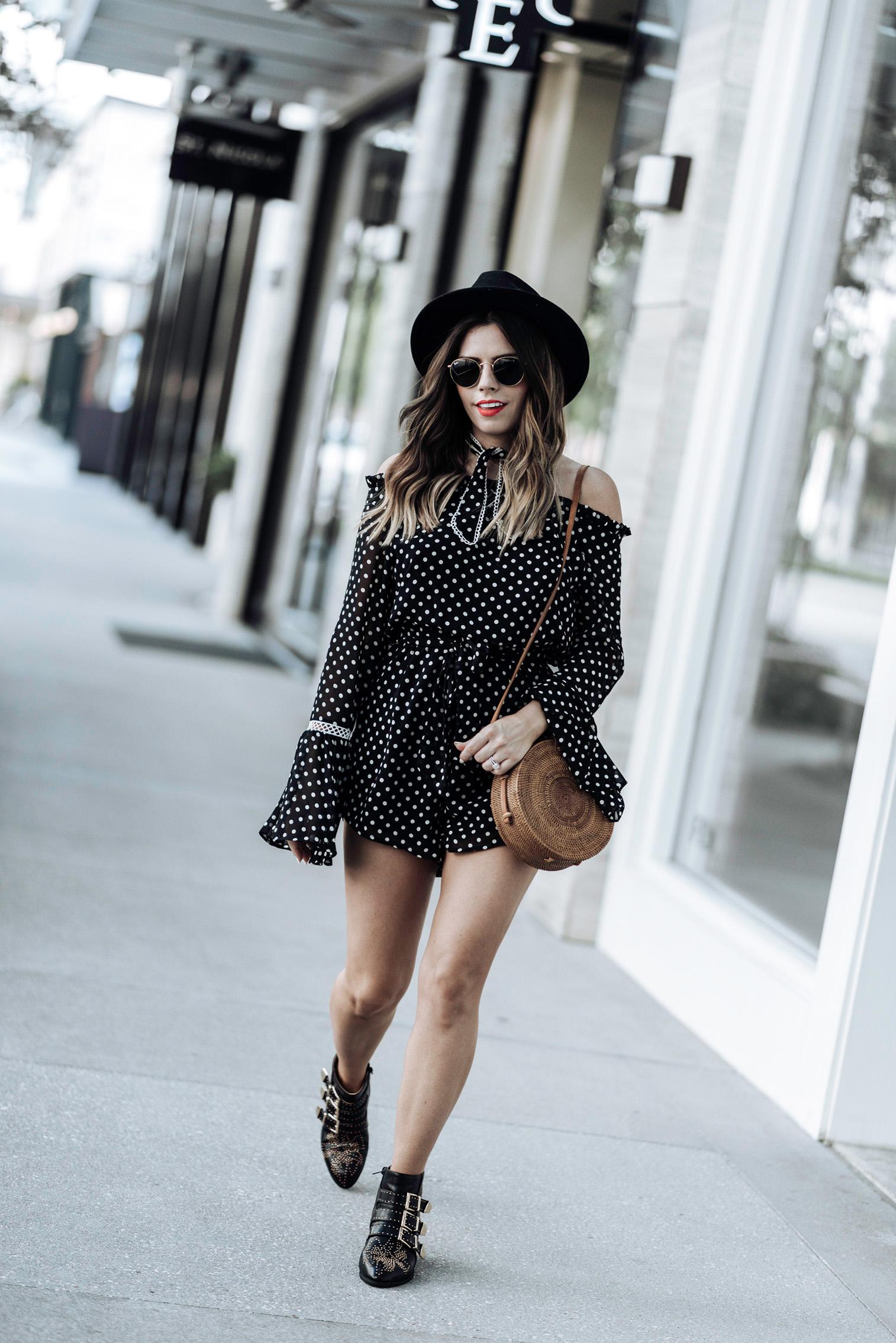 Tiffany Jais Houston fashion and lifestyle blogger   polka dot romper   round rattan bag, chloe studded boots, brixton hat