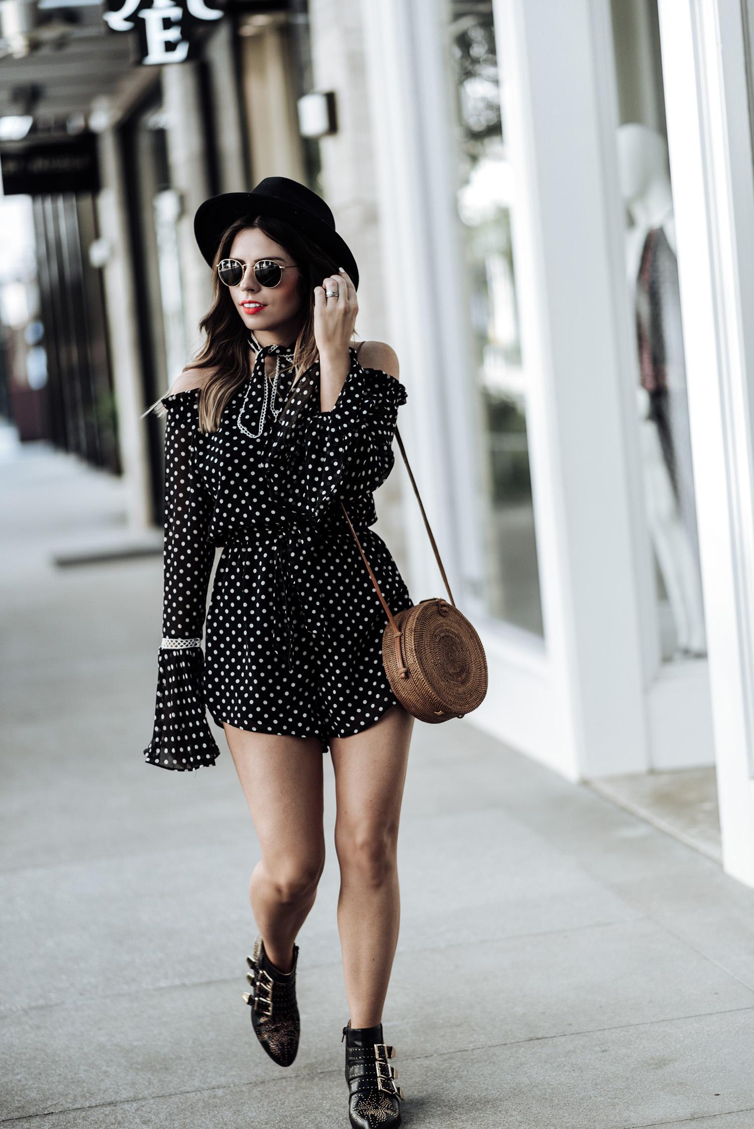 Tiffany Jais Houston fashion and lifestyle blogger   polka dot romper   round rattan bag, chloe studded boots, brixton hat , street style looks