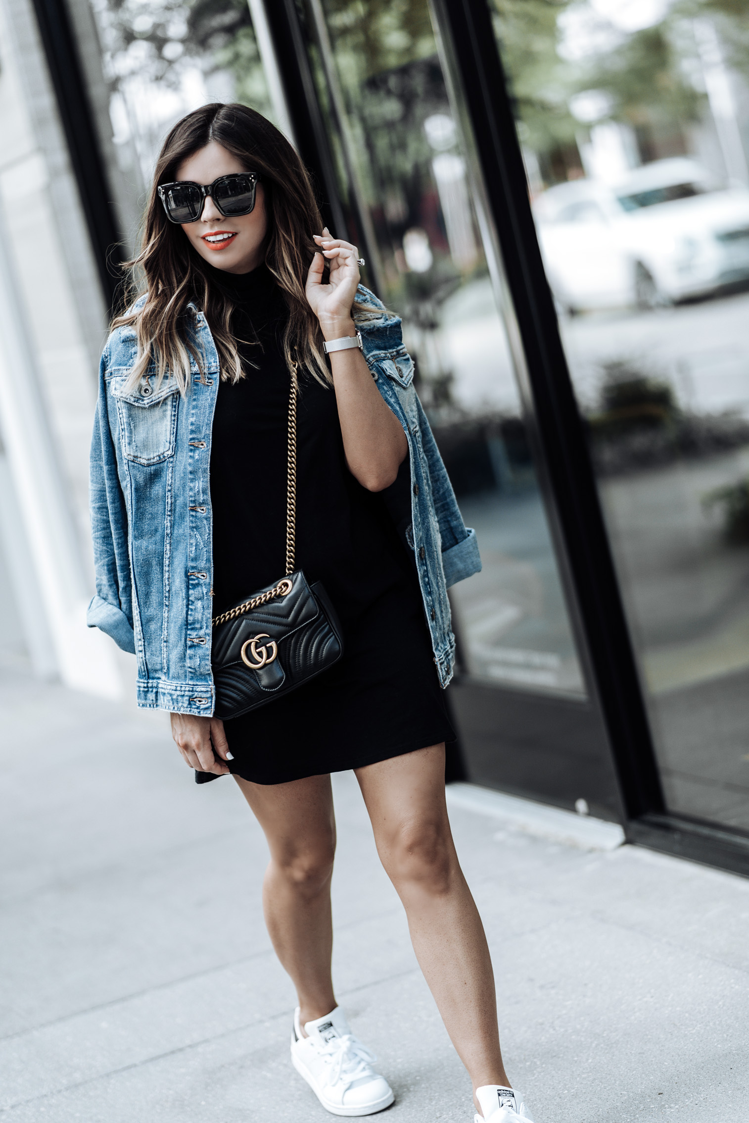 Currently trending / oversized denim jacket | Arizona Oversized Denim Jacket | Mock Neck Dress | Stan Smith Sneakers | Gucci Marmot Bag | Watch | Houston fashion blogger, street style fashion 2017