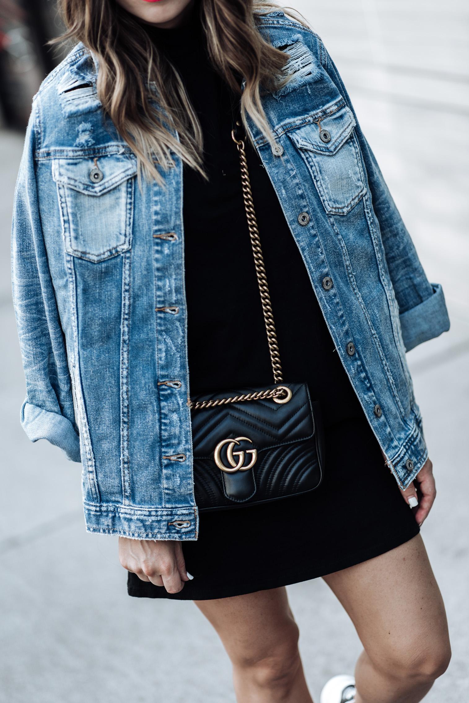 Currently trending / oversized denim jacket   Arizona Oversized Denim Jacket   Mock NeckDress   Stan Smith Sneakers   Gucci Marmot Bag  Watch   Houston fashion blogger, street style fashion 2017