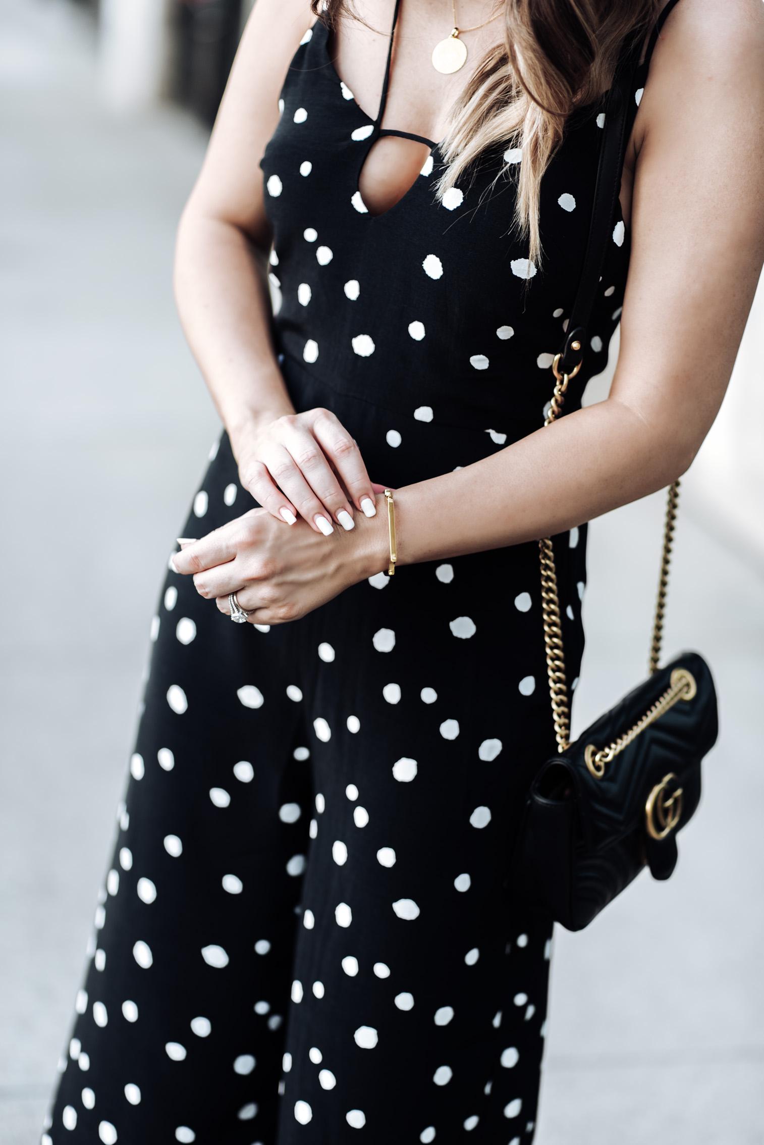 Tiffany Jais Houston fashion and lifestyle blogger | Polka dot jumpsuit from Nordstrom| Gucci Marmot, Mini Marie Pendant, Signature large bangle, Carrson Sandal, Streetstyle blogger