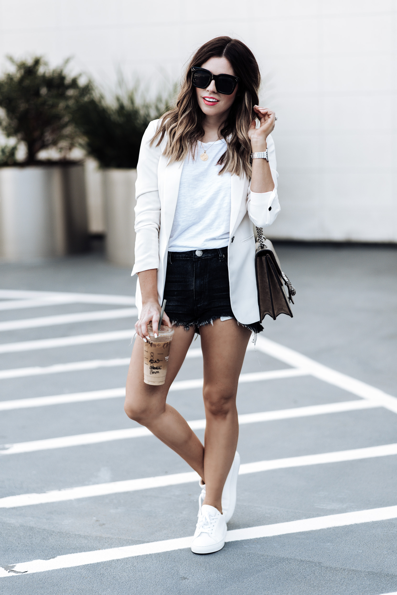 Tiffany Jais Houston fashion and lifestyle blogger |Transitional fall pieces | White Blazer from H&M (similar style here) | Denim Shorts (Similar) | Gucci Dionysus bag | {C/O} Greats sneakers|