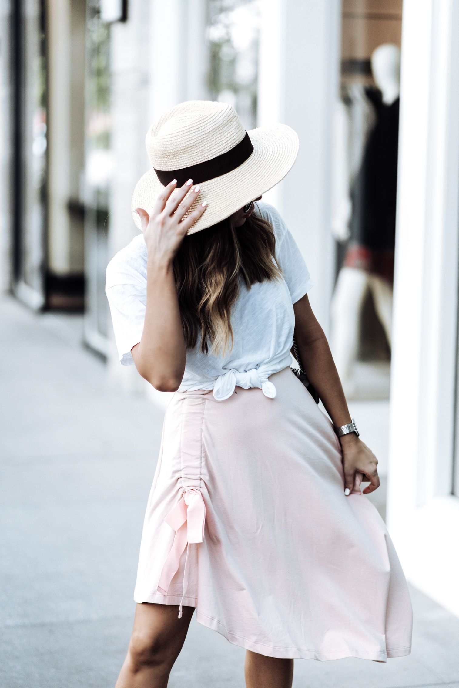 Tiffany Jais Houston fashion and lifestyle blogger | ASOS pink skirt | Cotton crew neck tee | {C/O}  Greats sneakers | Gucci Dionysus Bag | Brixton Willow hat | {C/O} Mini Marie Pendant | Streetsyle blogger