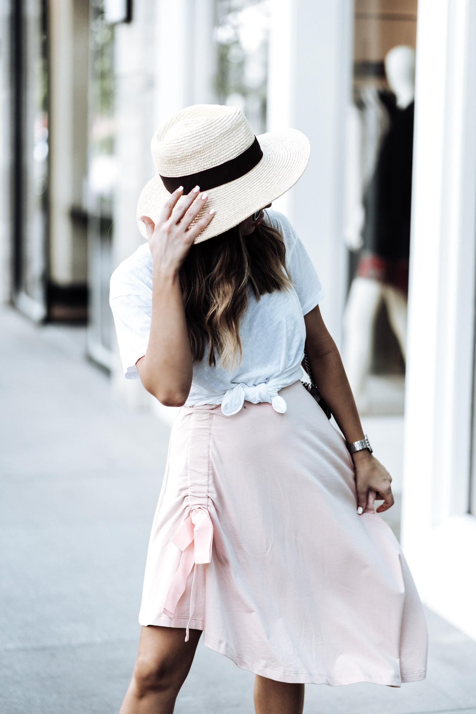 Tiffany Jais Houston fashion and lifestyle blogger   ASOS pink skirt   Cotton crew neck tee   {C/O} Greats sneakers   Gucci Dionysus Bag   Brixton Willow hat   {C/O} Mini Marie Pendant  Streetsyle blogger