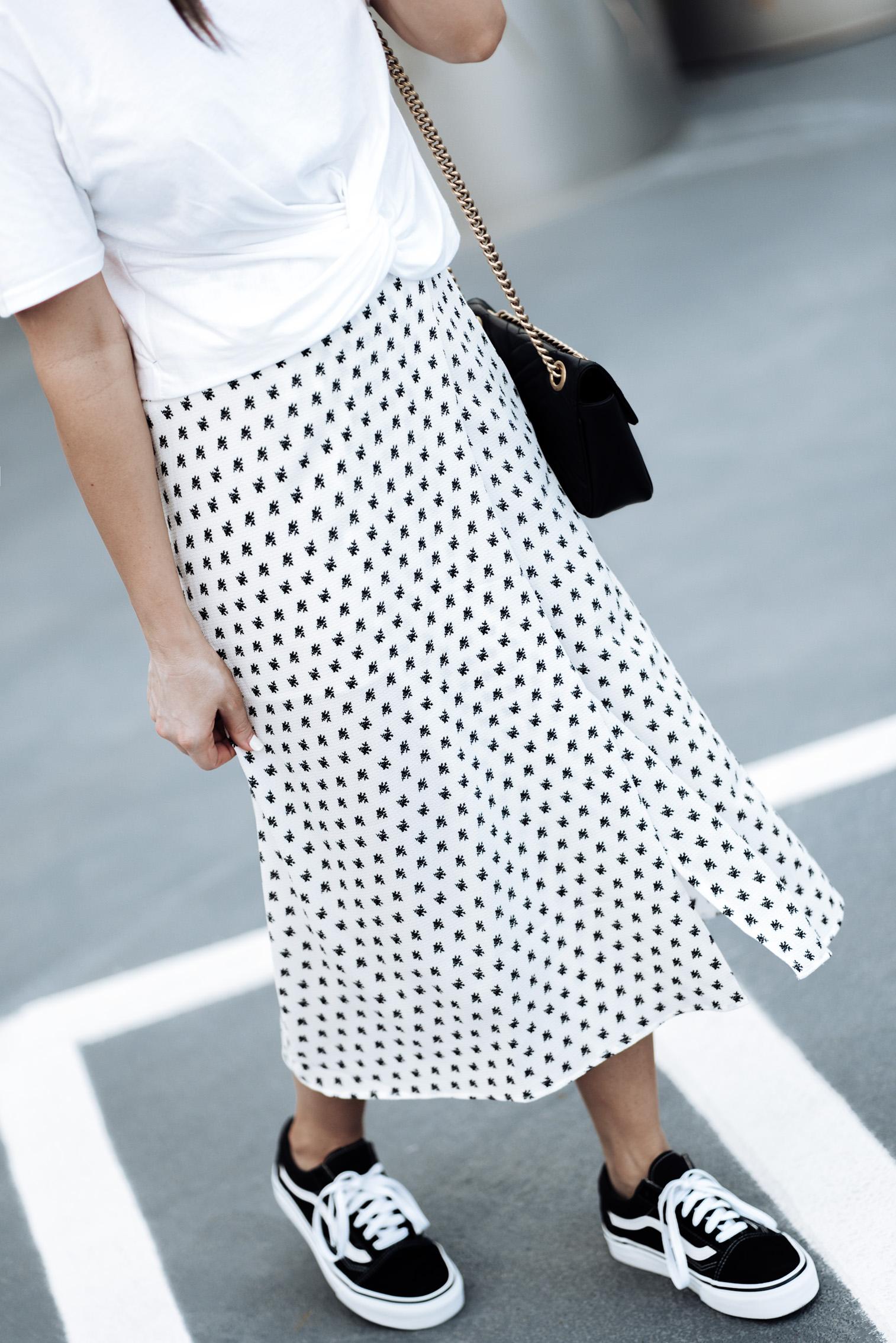 Tiffany Jais Houston fashion and lifestyle blogger | Wrap midi skirt trend | Side Party wrap midi skirt (Size small) | Twist front tee | Gucci Marmont bag | Vans Originals | Mini Marie Pendant |