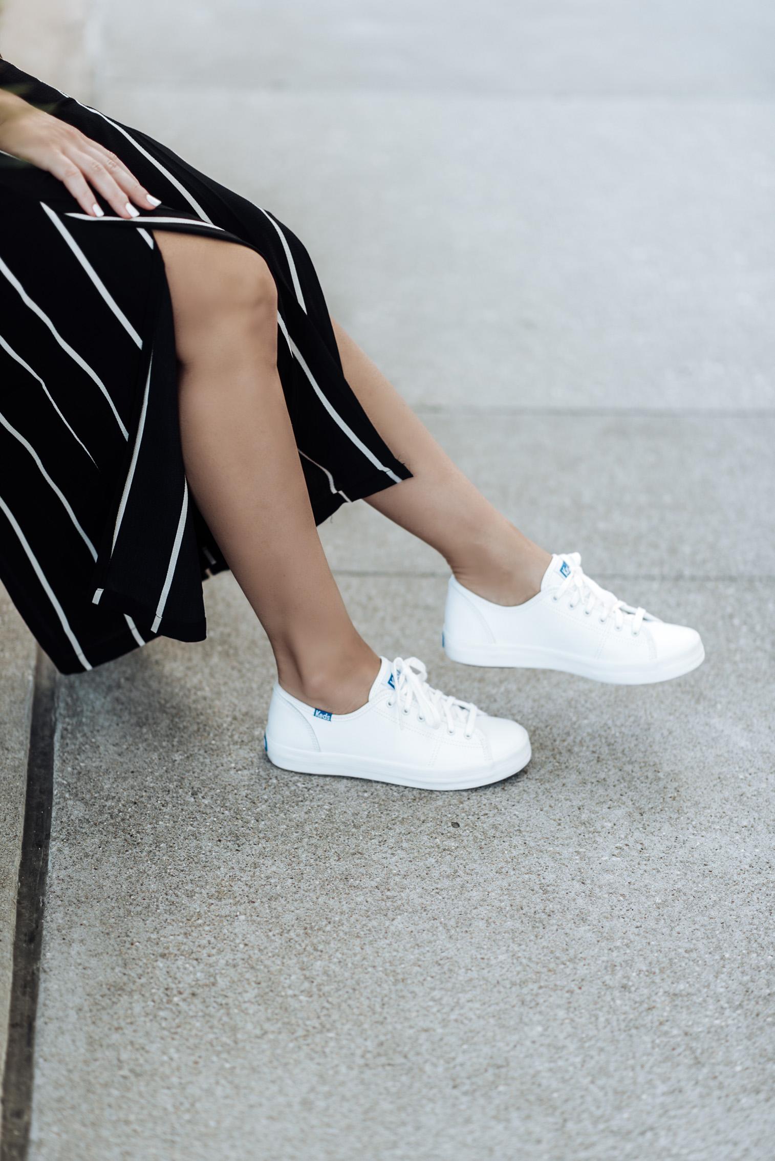 Tiffany Jais fashion and lifestyle blogger of Flaunt and Center | Houston fashion blogger | Streetstyle blog | {C/O Keds | Striped pants (Similar style) | White tee (similar) | Bag |