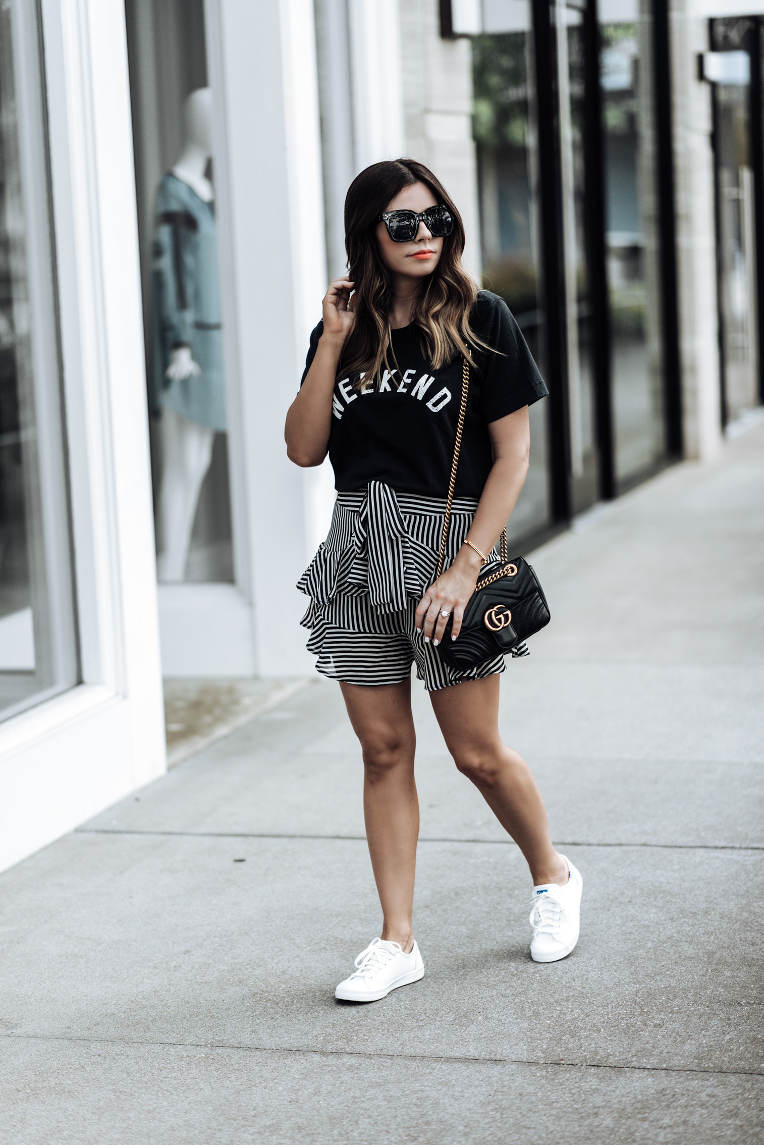 Houston fashion blogger Tiffany Jais | Streetstyle blogger | Weekend Tee (On sale for only $20) | Striped ruffle skirt, here | Gucci Marmont Bag | {C/O} Leather Kickstart Keds | Bangle {C/O} Monica Vinader | Sunnies