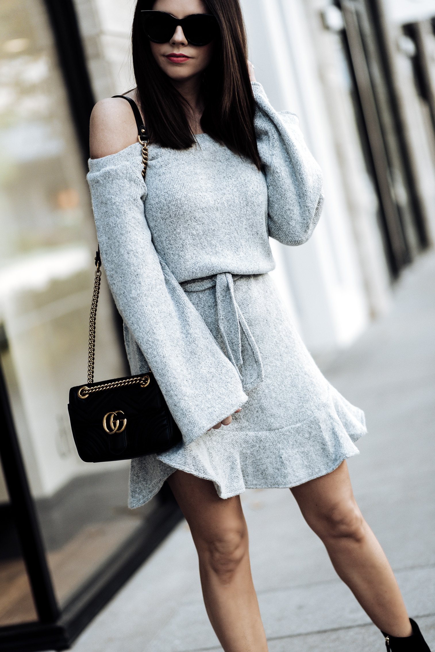 5 Sweater dresses you need this fall, click to shop the look | Grey sweater dress, M. Gemi Corsa bootie, Gucci Marmont bag in black |Tiffany Jais fashion and lifestyle blogger of Flaunt and Center | Houston fashion blogger | Streetstyle blog