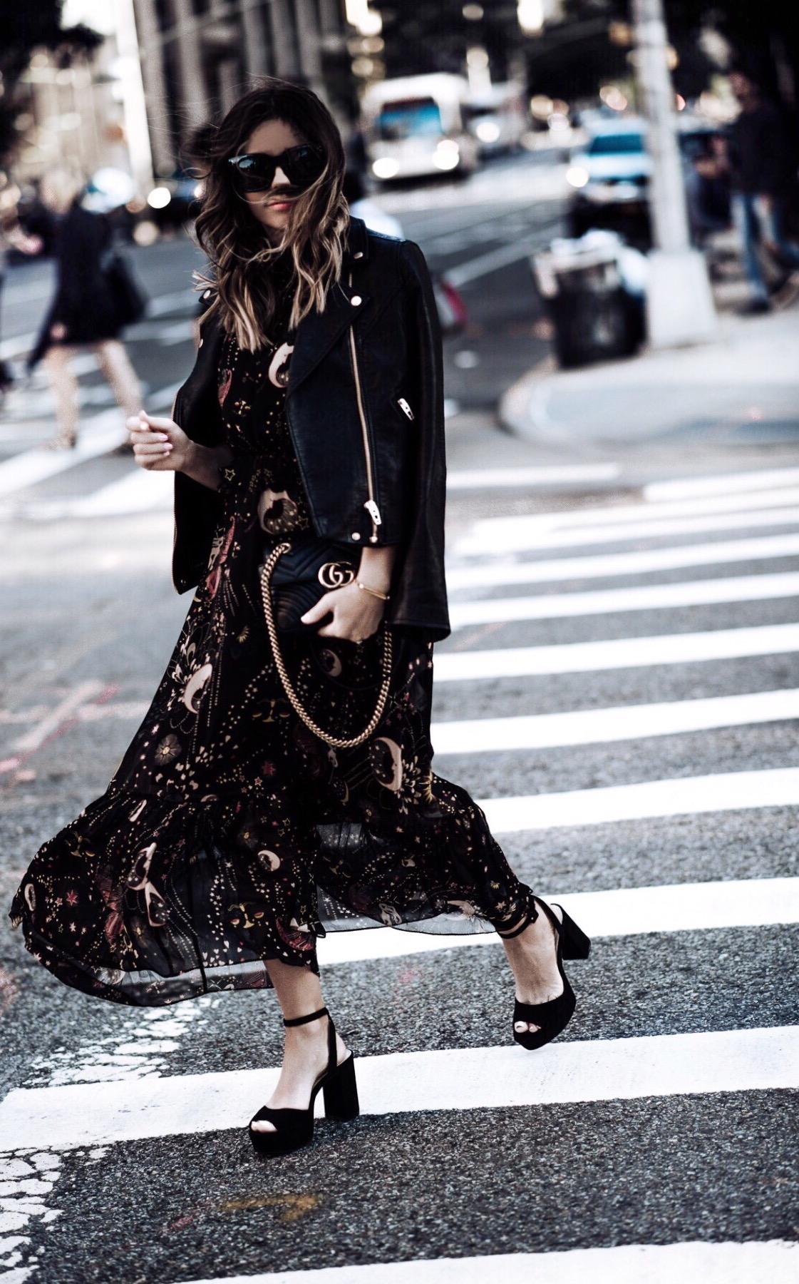 Tiffany Jais fashion and lifestyle blogger of Flaunt and Center | NYFW | Zara floral dress | Black moto jacket