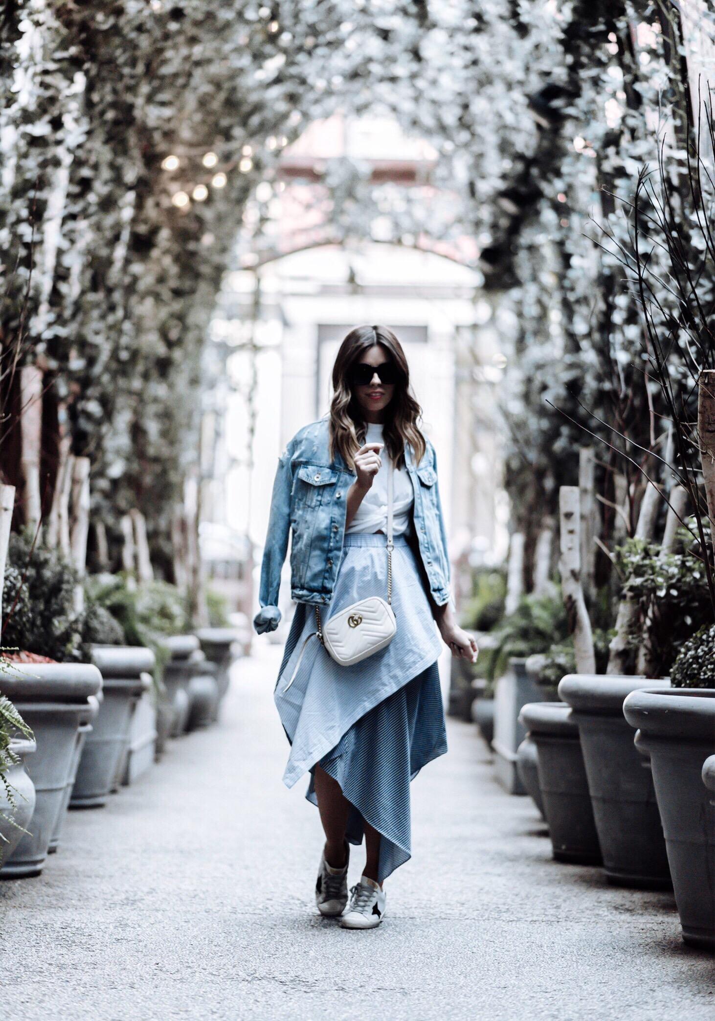 Tiffany Jais fashion and lifestyle blogger of Flaunt and Center | NYFW | NOMO SOHO NYC | Opening Ceremony skirt, Gucci marmot bag in white