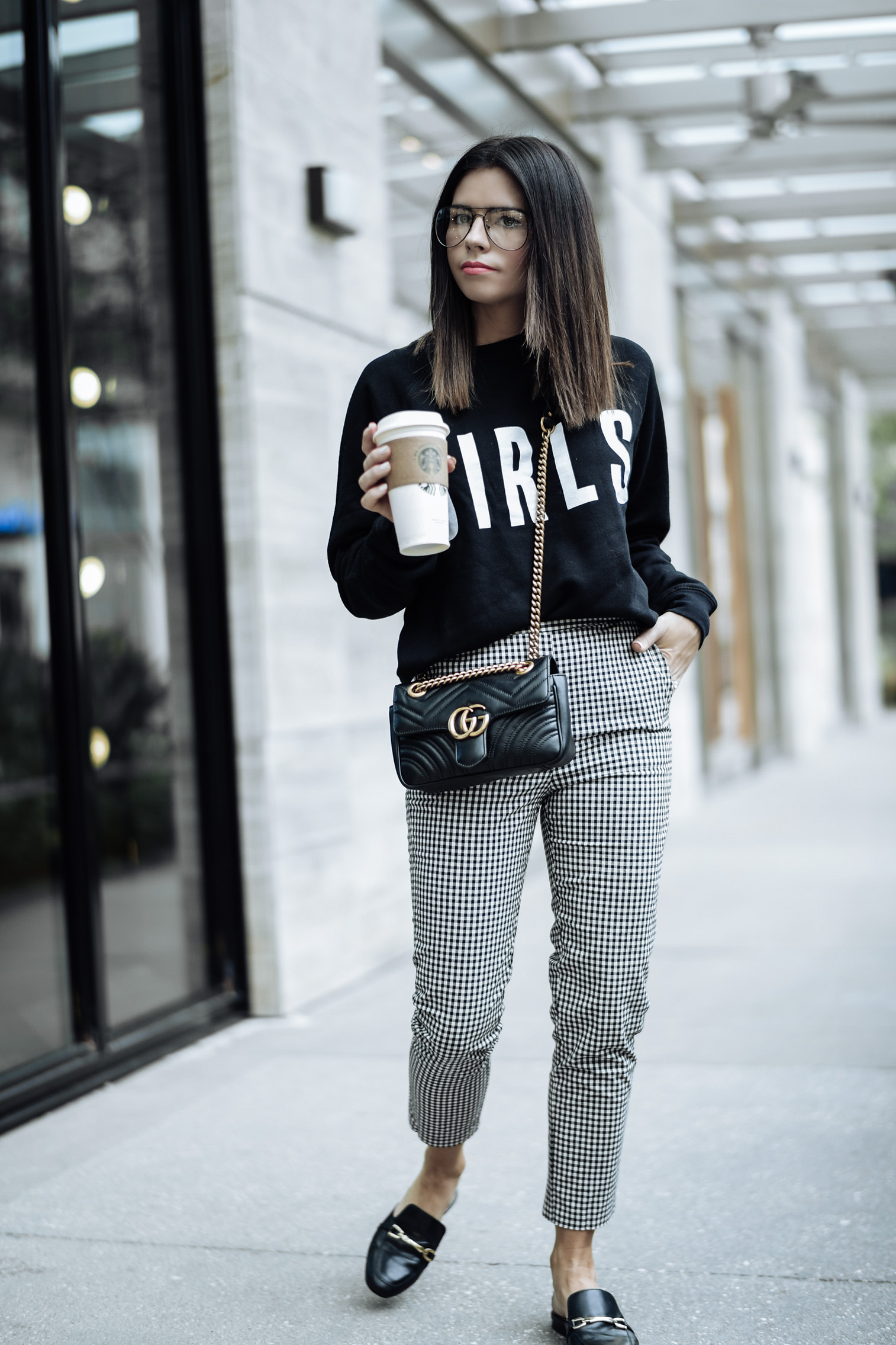 3 check print pieces for under $100 |Gingham print pants | Brunette the Label sweatshirt | Mules |Tiffany Jais fashion and lifestyle blogger of Flaunt and Center | Houston fashion blogger | Streetstyle blog | Personal style online #falloutfits #ginghamoutfits #graphicsweatshirt