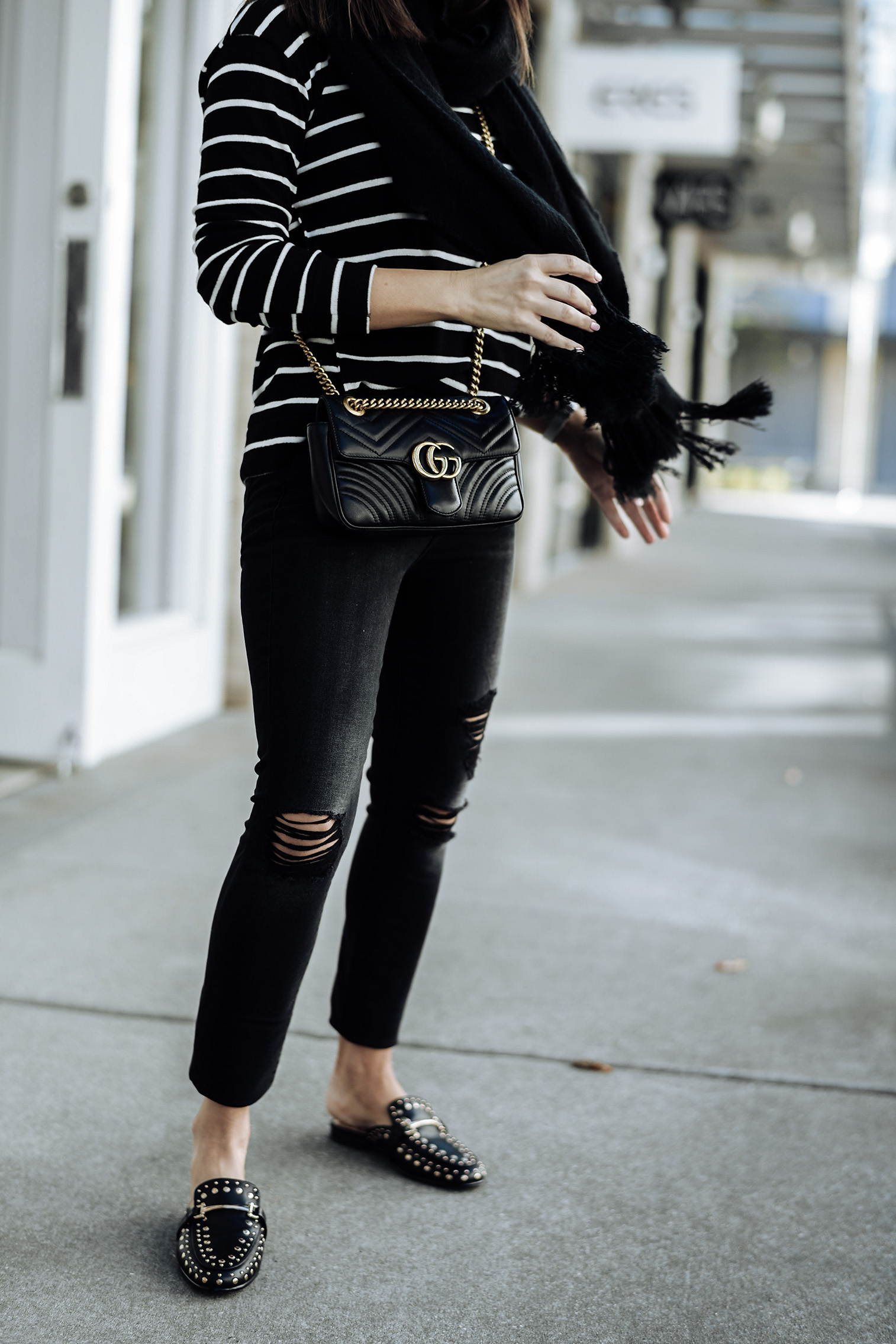 Flats | 7 For All Mankind Ankle Skinny Jeans | Striped sweater | Fringe scarf | Gucci Marmont bag |Tiffany Jais fashion and lifestyle blogger of Flaunt and Center | Houston fashion blogger | Fall denim with Zappos| Streetstyle blog #streetstyle #fashionblog #style # fall style #slides