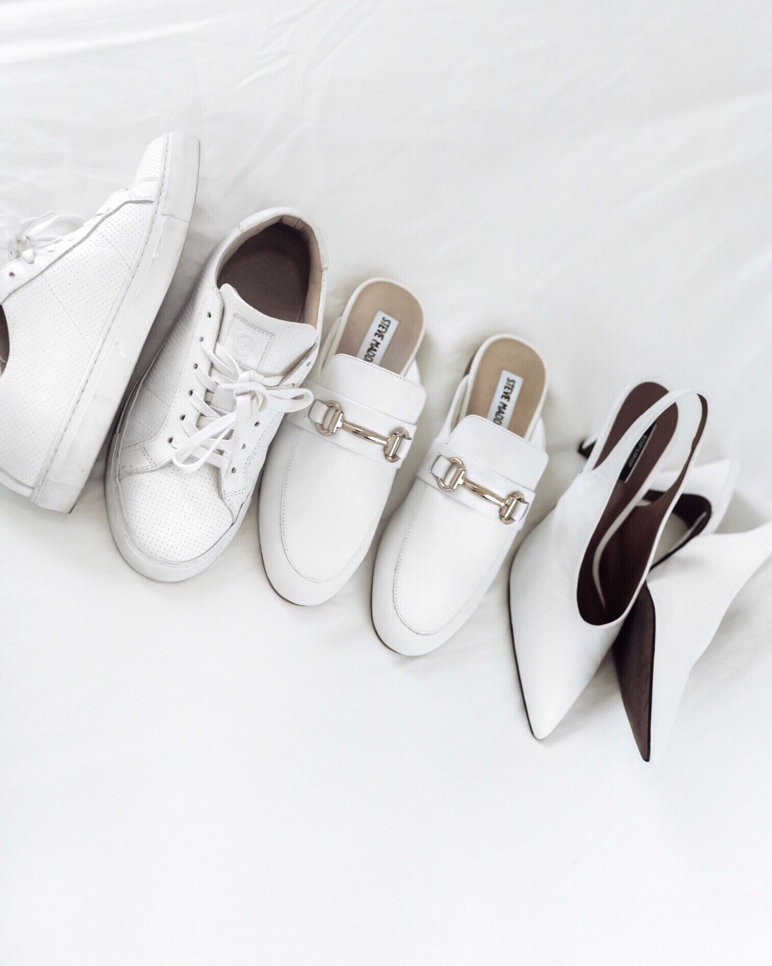 FRIDAY FEELS   shop the post  The white shoe obsession is real this year and it's such a huge trend right now. I prefer the classic styles that stay around like these white loafers by Steve Madden. I just got them in and I can't wait to style them with cozy sweaters and denim this fall!