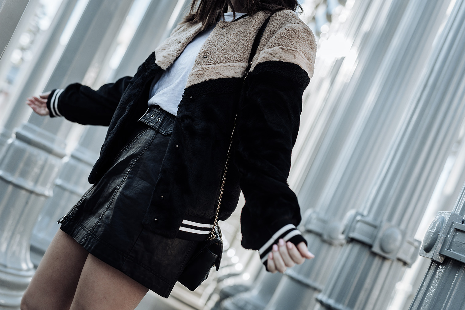 Faux fur bomber (Lord & Taylor)   Free People Feeing Fresh vegan leather skirt   Golden Goose Superstar Sneakers  Gucci Bag   Faux fur bomber   skirt  