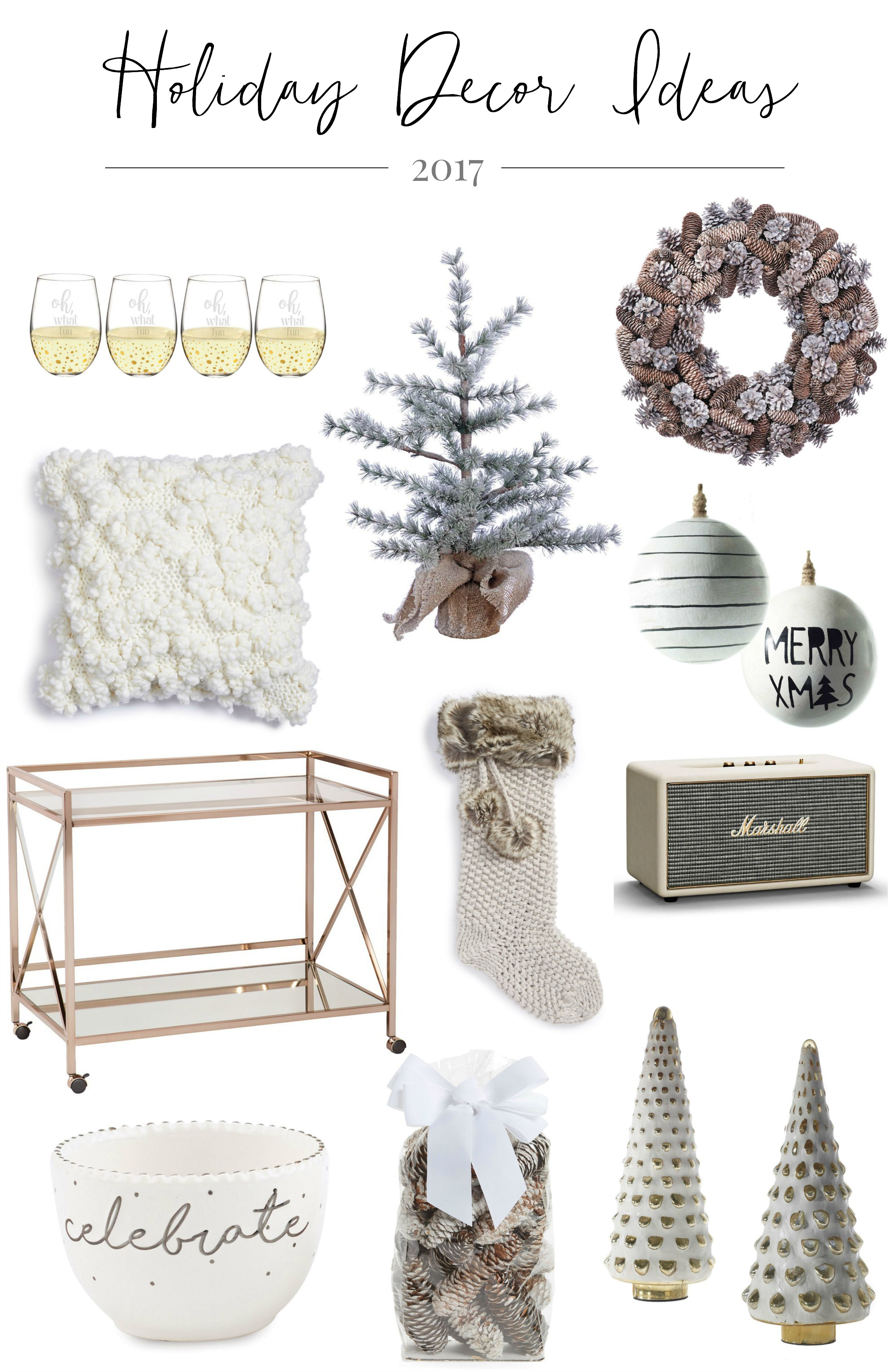 Christmas decorating | Oh what fun wine glasses | Mini burlap wrapped pine tree | Pinecone wreath | Knit Pillow | Merry XMAS wooden ball ornament | Bar cart | Knit faux fur stocking | Bluetooth speaker | Celebrate dip cup | Pinecone Potpourri | Glass tree